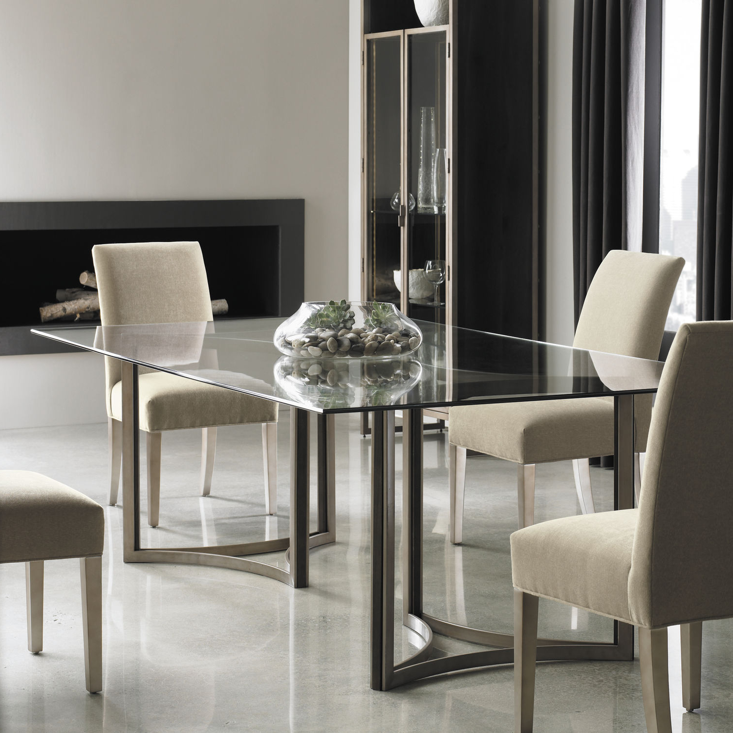 Most Current Contemporary Dining Table / Glass / Lacquered Metal Base / Oak Base Modern  Artisans – In The Clear Caracole With Modern Gold Dining Tables With Clear Glass (Gallery 5 of 30)
