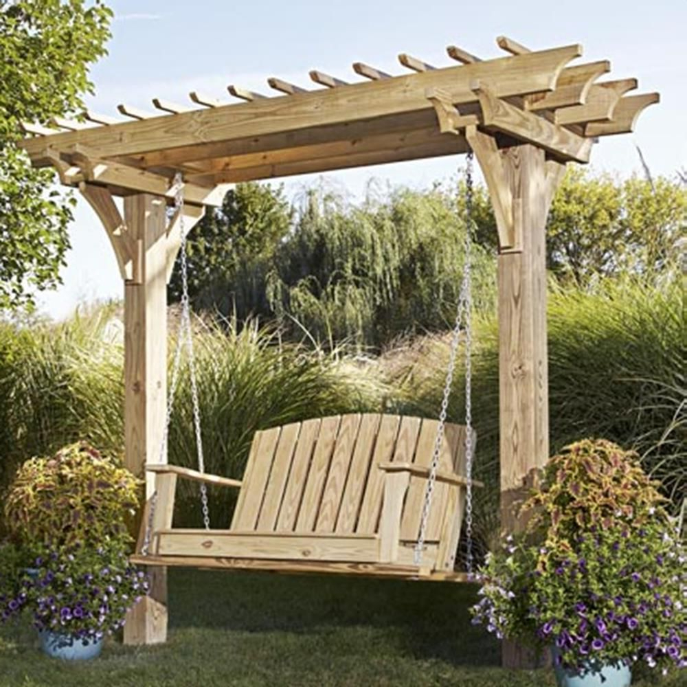 Most Current Easy Swinging Arbor With Swing Woodworking Plan From Wood Regarding Patio Gazebo Porch Swings (Gallery 10 of 30)