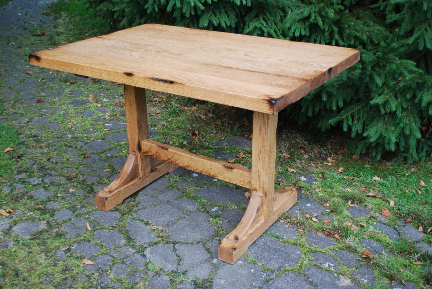 Most Current Furniture Small And Narrow Diy Pine Trestle Dining Table For Regarding Rustic Pine Small Dining Tables (Gallery 2 of 30)