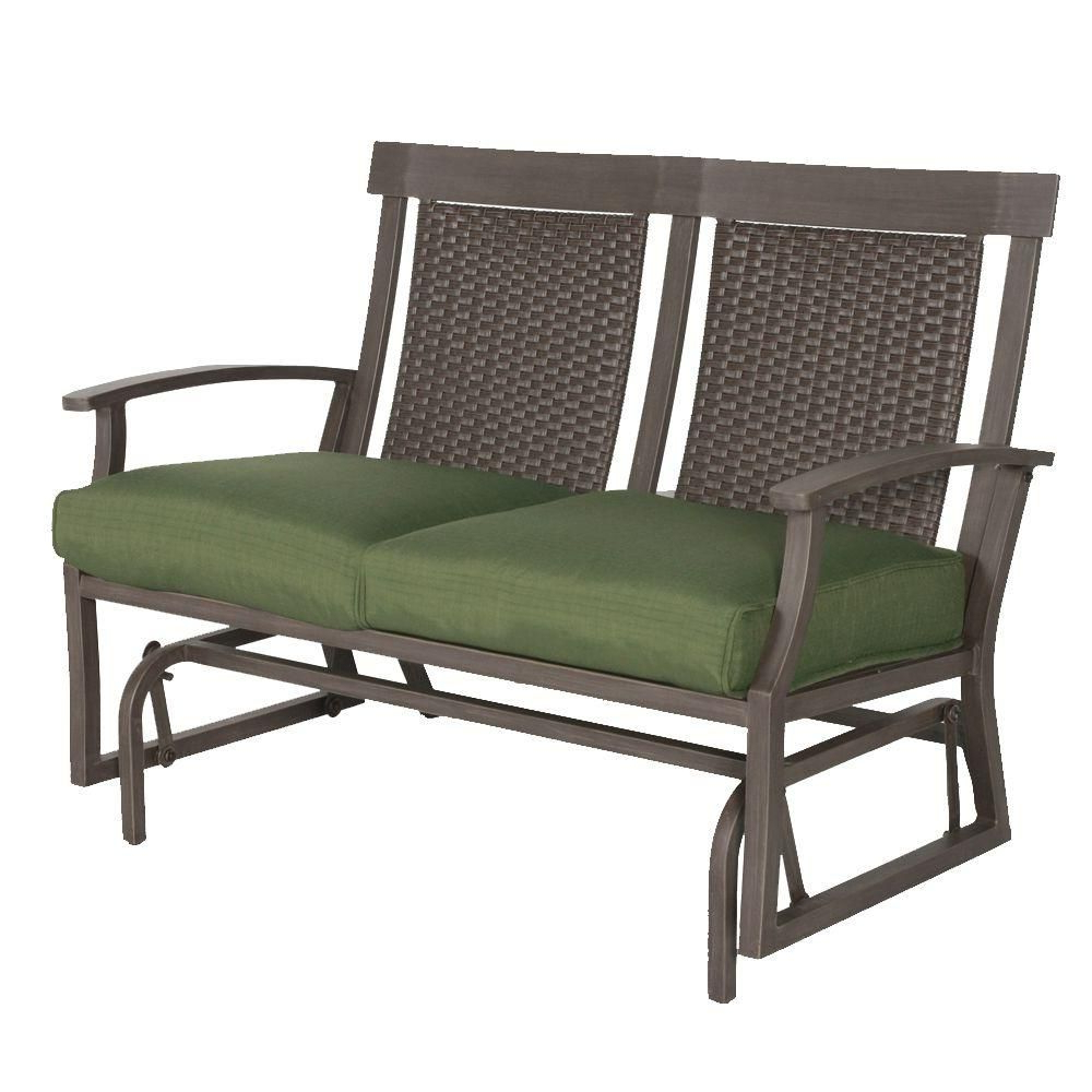 Most Current Hampton Bay Bloomfield Woven Patio Double Glider With Moss In Double Glider Benches With Cushion (Gallery 8 of 30)