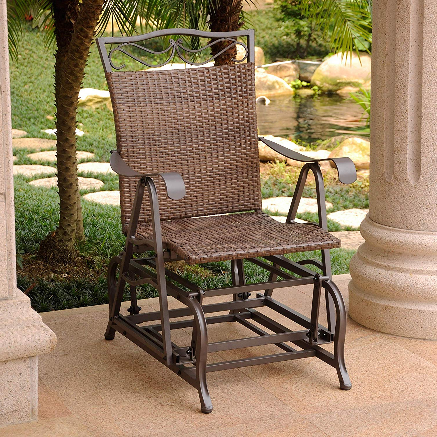 Most Current International Caravan Patio Glider Chair In Antique Brown Finish Inside 1 Person Antique Black Steel Outdoor Gliders (Gallery 27 of 30)