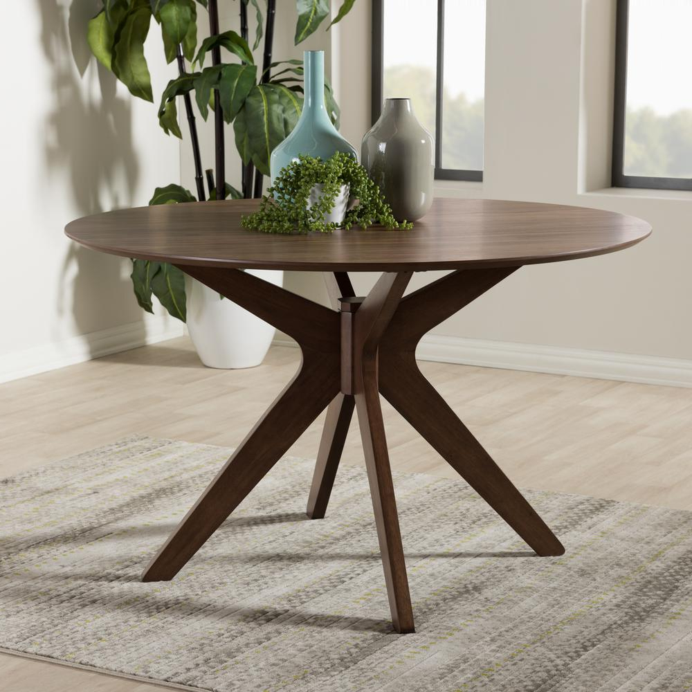 Most Current Medium Dining Tables With Baxton Studio Monte Medium Brown Finished Wood Dining Table (View 27 of 30)