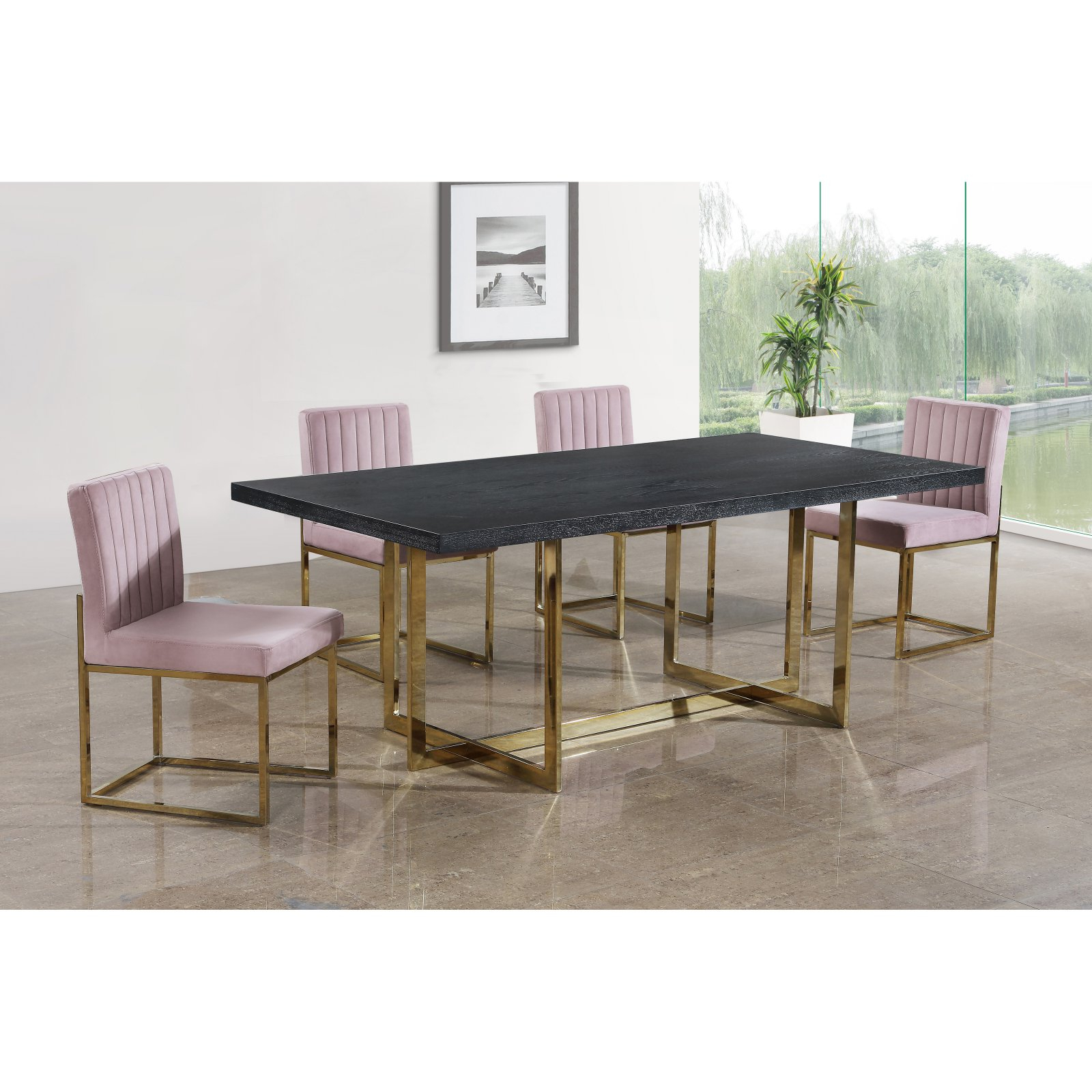 Most Current Meridian Furniture Inc Elle Rectangular Dining Table Inside Charcoal Transitional 6 Seating Rectangular Dining Tables (View 22 of 30)