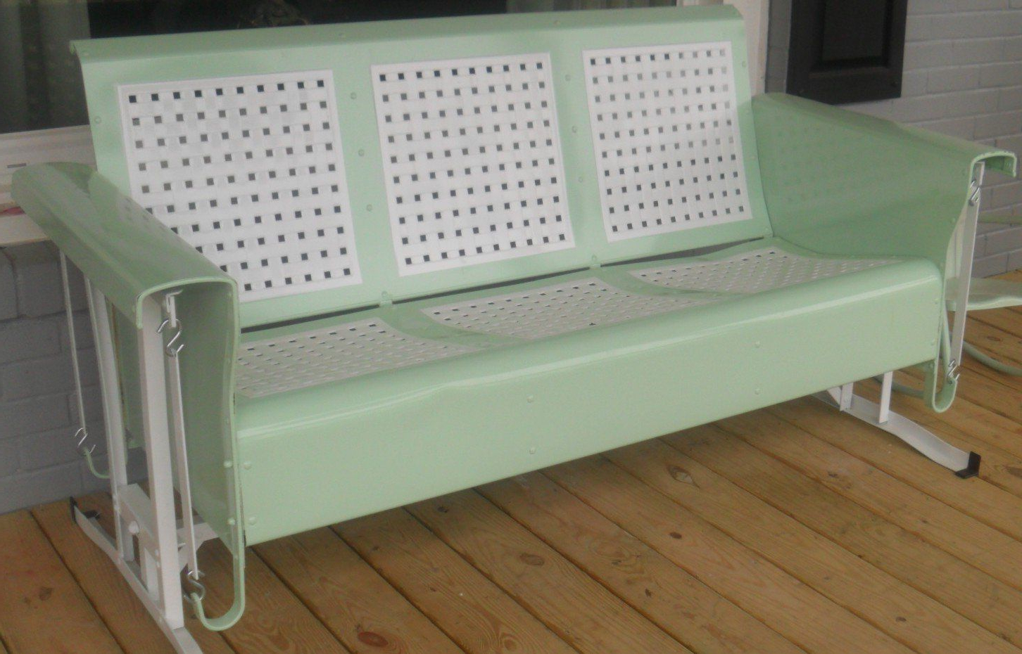Most Current Metal Retro Glider Benches In Restored Basketweave Metal Three Seat Vintage Old Porch (Gallery 5 of 30)