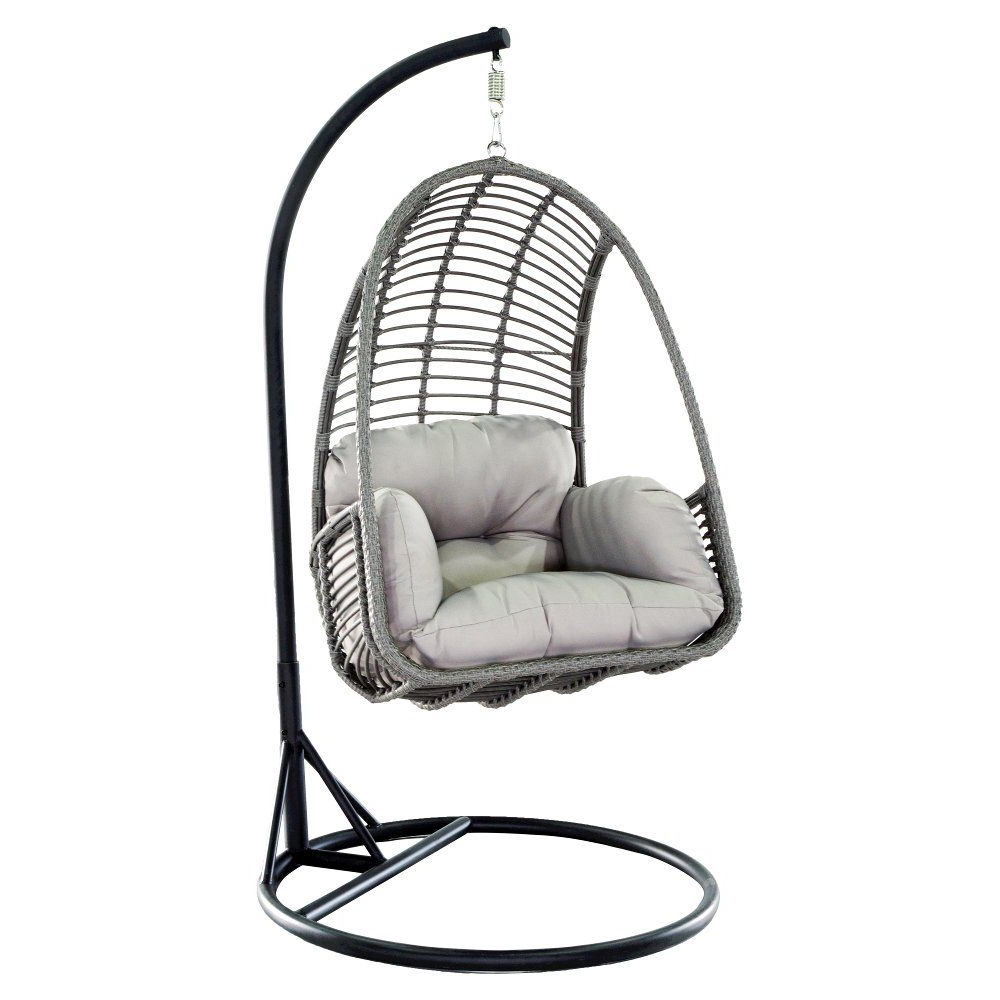 Most Current Metal Wicker Outdoor Hanging Chair With Cushion (Gallery 13 of 30)
