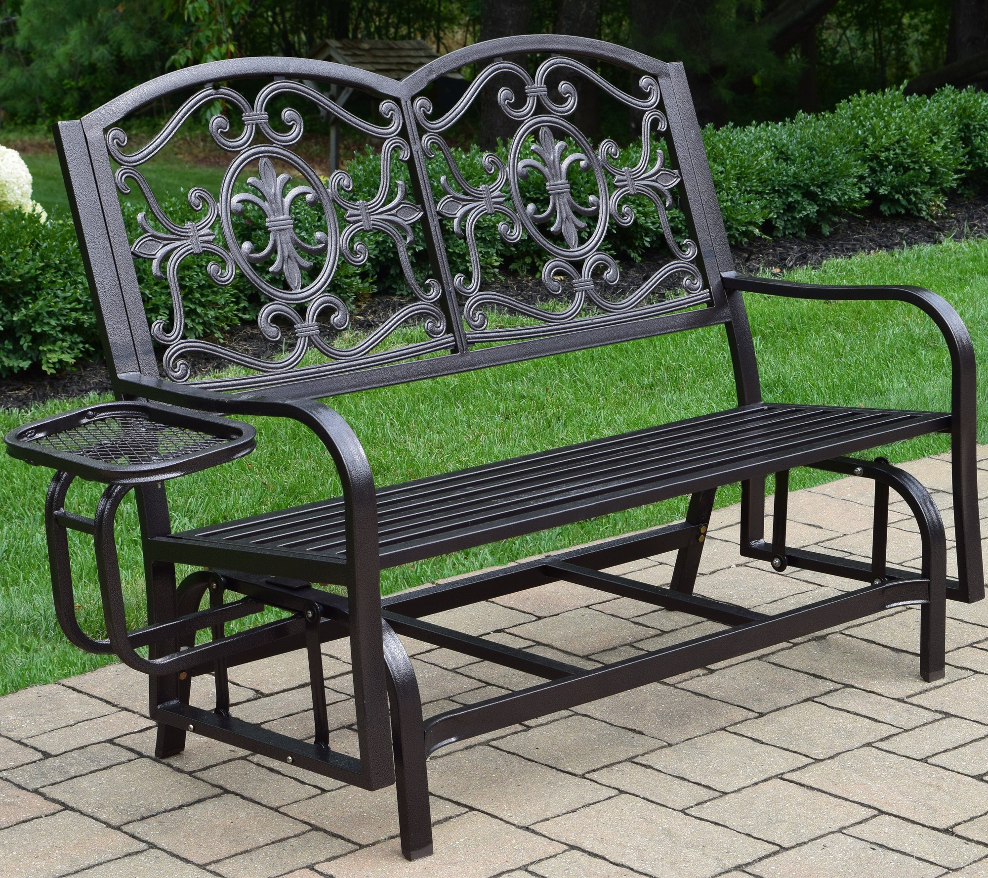 Most Current Oakland Living Lakeville Iron Outdoor 4 Ft. Glider Bench Throughout Aluminum Outdoor Double Glider Benches (Gallery 30 of 30)
