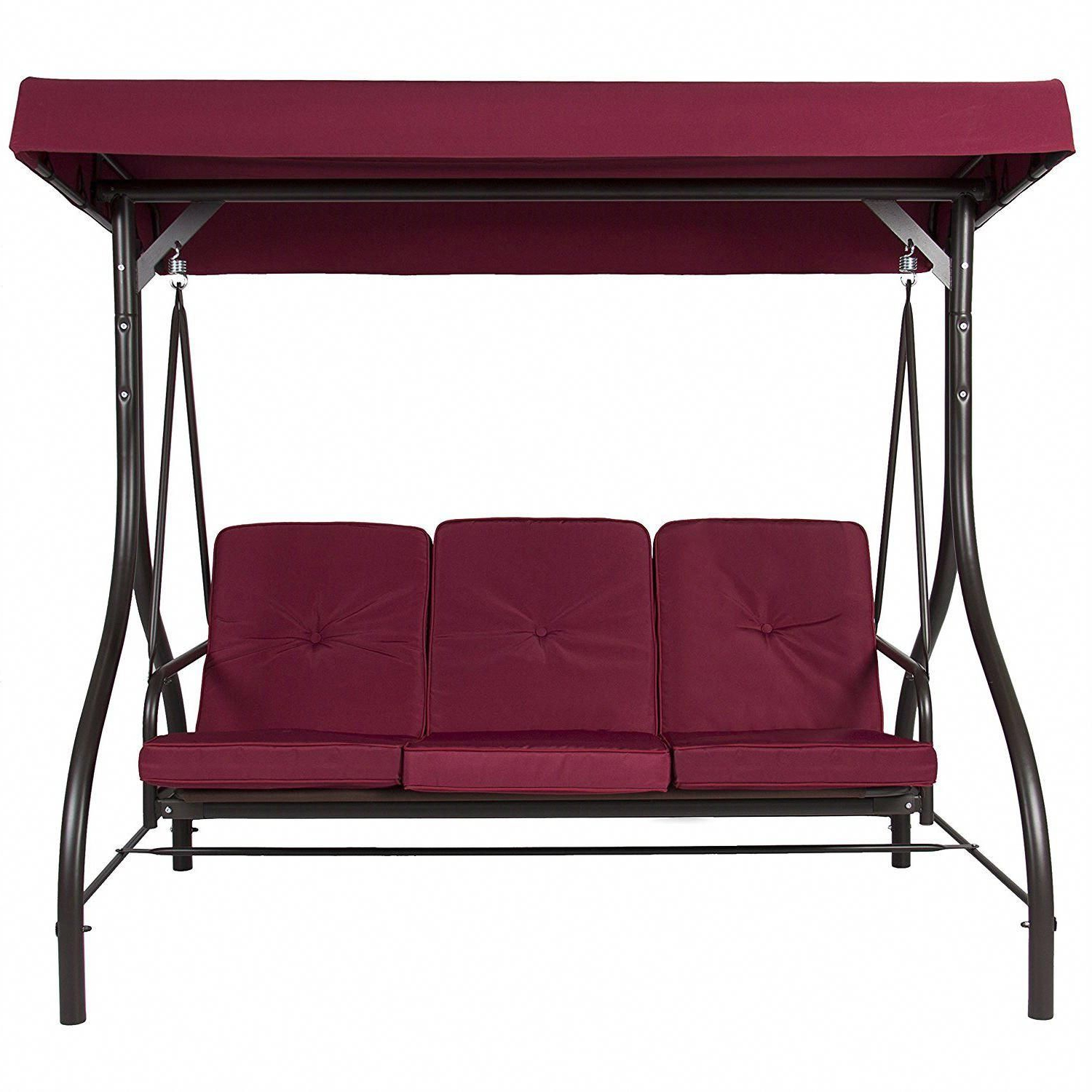 Most Current Outdoor Canopy Hammock Porch Swings With Stand Within Burgundy Outdoor Patio Deck Porch Canopy Swing With Cushions (Gallery 4 of 30)