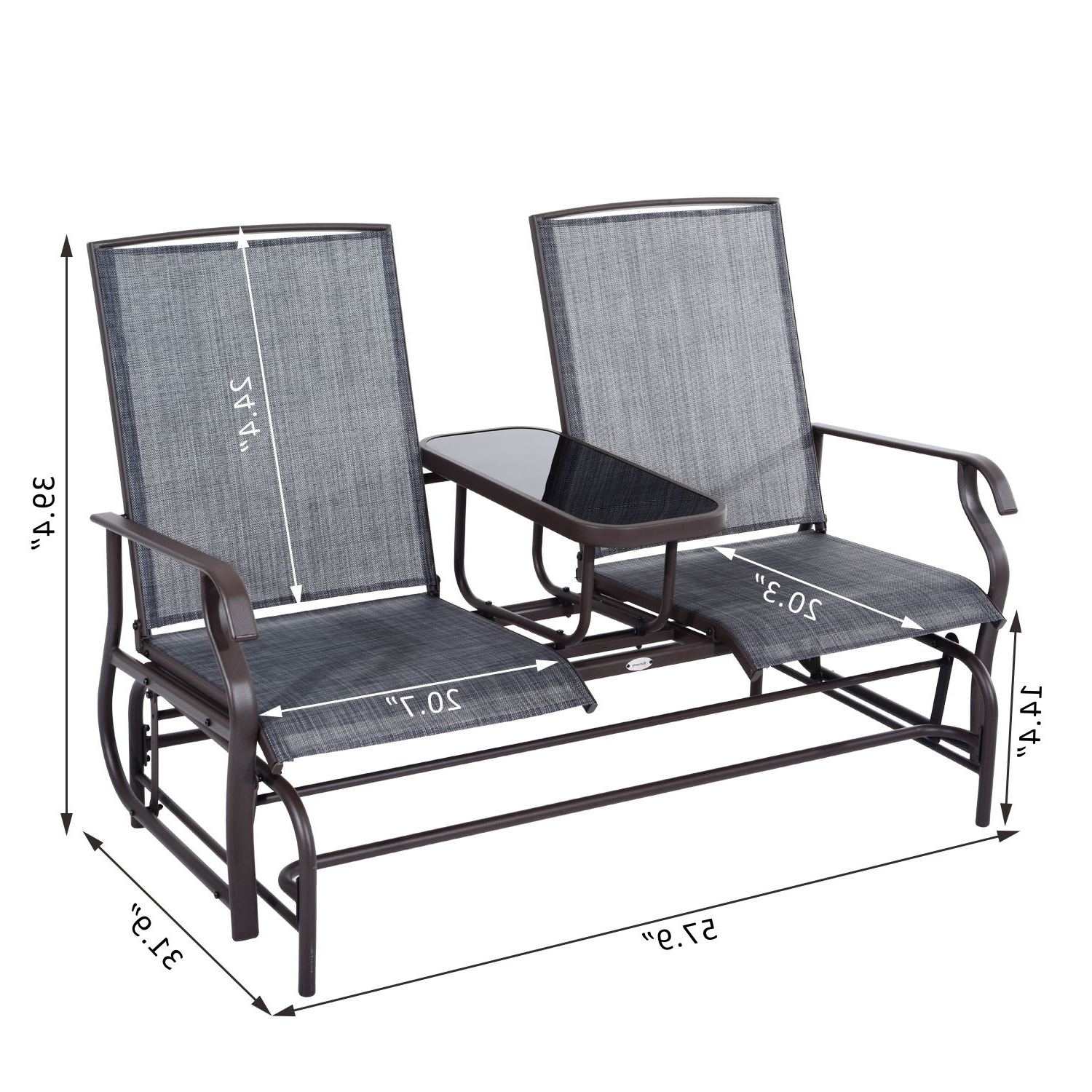 Most Current Outsunny 2 Person Outdoor Mesh Fabric Patio Double Glider Within Center Table Double Glider Benches (View 26 of 30)