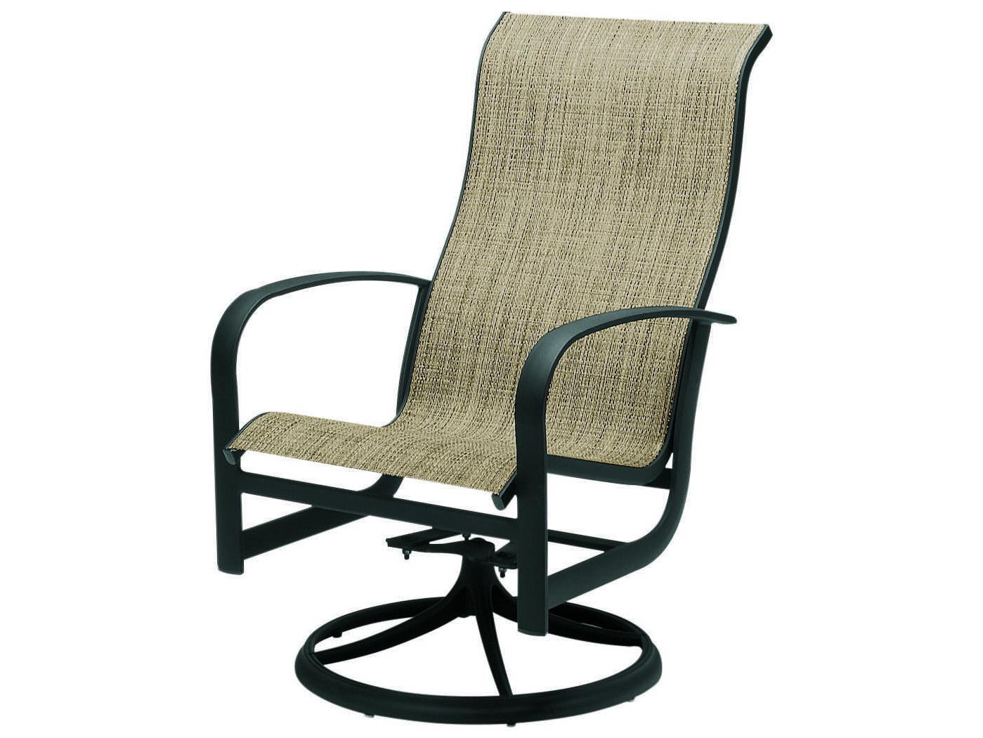 Most Current Padded Sling High Back Swivel Chairs Regarding Woodard Fremont Sling Aluminum High Back Swivel Rocker (View 14 of 30)