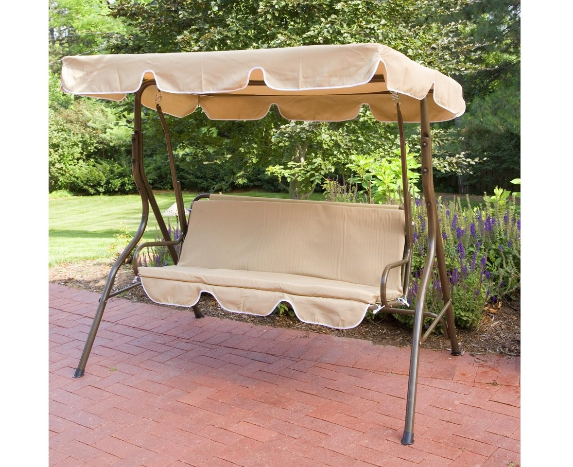 Most Current Patio Gazebo Porch Swings Inside 2 Person Outdoor Canopy Swing, Canopy Porch Swing (Gallery 3 of 30)