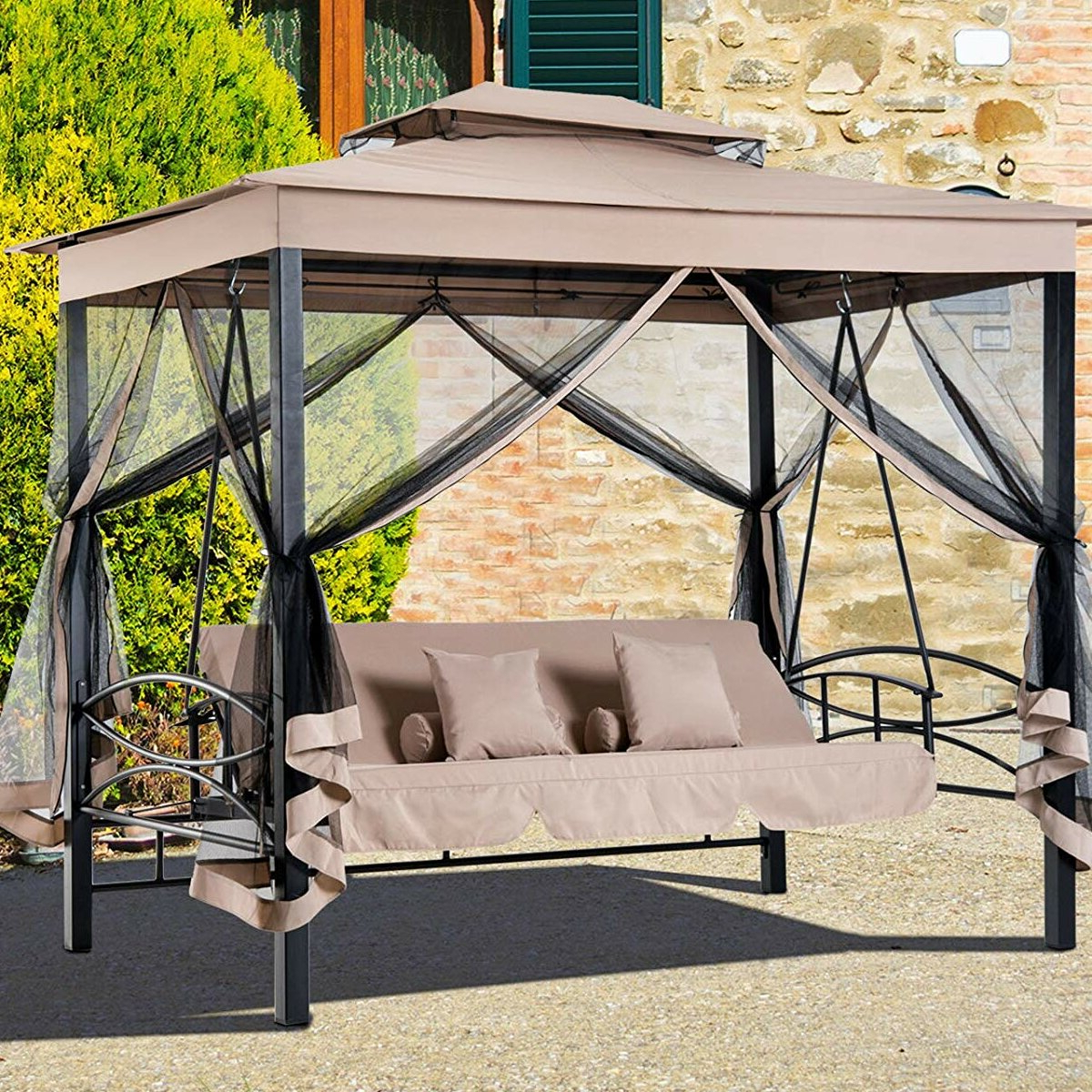 Most Current Patio Gazebo Porch Swings Inside Freeport Park Kenyatta Outdoor Patio Daybed Canopy Gazebo Swing With Mesh Walls (Gallery 17 of 30)