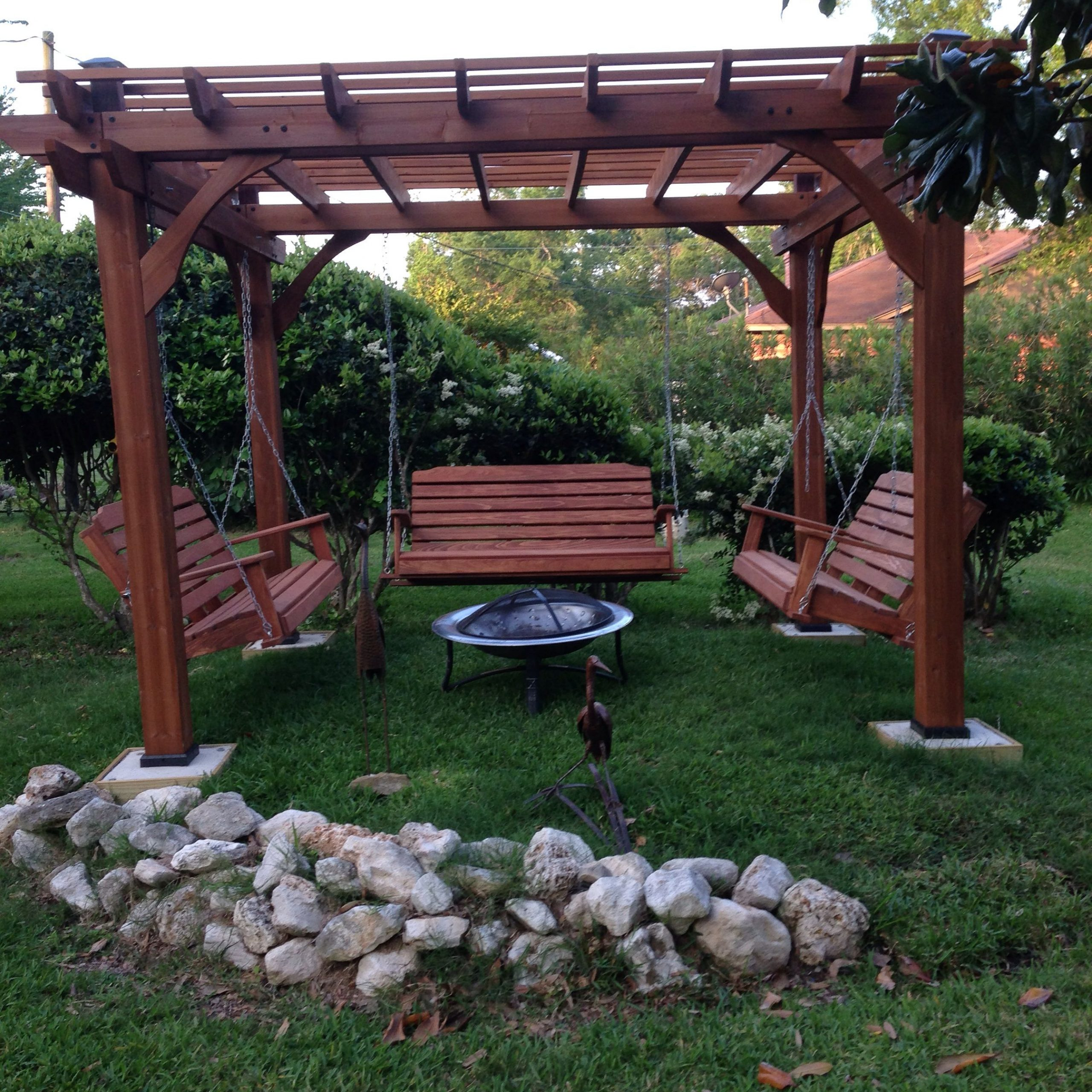 Most Current Patio Gazebo Porch Swings With Great Outdoor Area With Pergola, Swings And Fire Pit (Gallery 7 of 30)