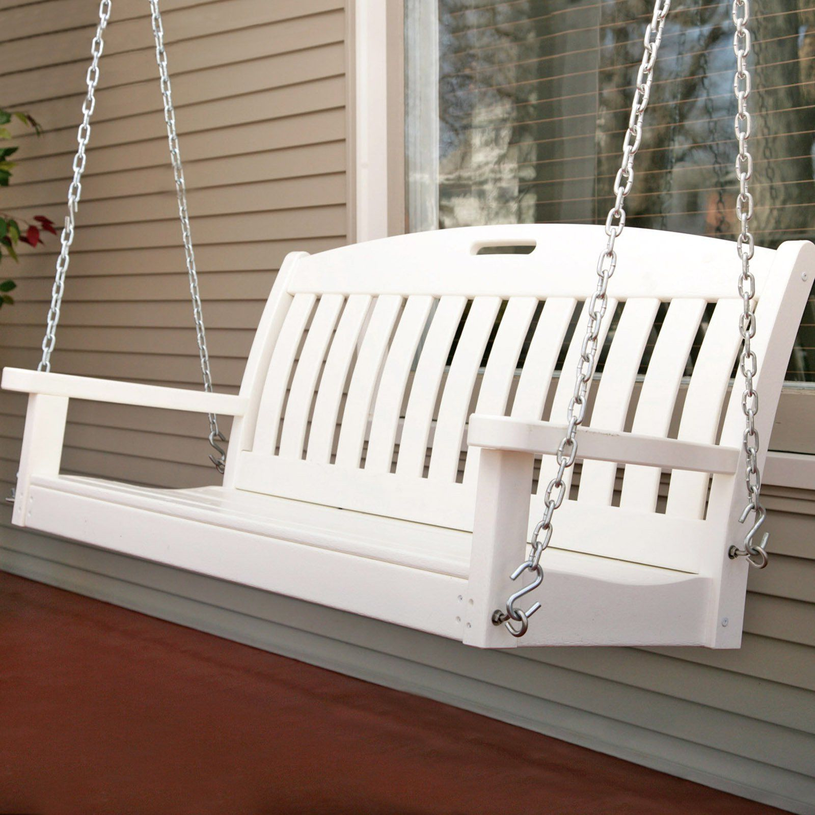 Most Current Polywoodâ® Nautical 4 Ft. Recycled Plastic Porch Swing With Regard To Nautical Porch Swings (Gallery 1 of 30)