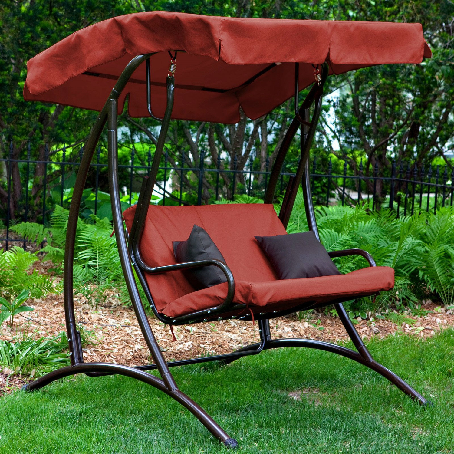Most Current Porch Swings With Canopy Intended For 2 Seat Outdoor Porch Swing With Canopy In Terracotta Red (Gallery 14 of 30)