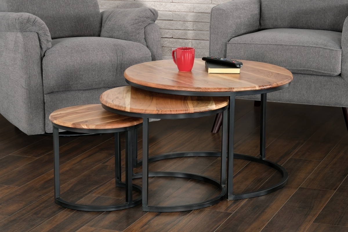 Most Current Primo International 36266 Trinity Acacia Wood & Iron Nesting Throughout Acacia Dining Tables With Black Rocket Legs (View 16 of 30)