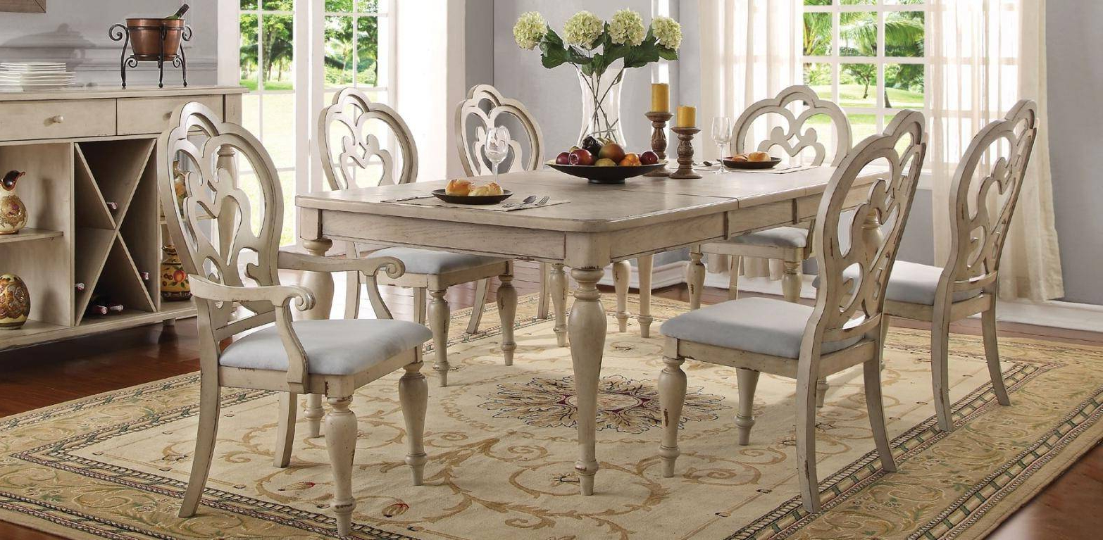 Most Current Provence Accent Dining Tables Inside Provence Antique White Dining Table Set 7pcs Acme Furniture (View 11 of 30)