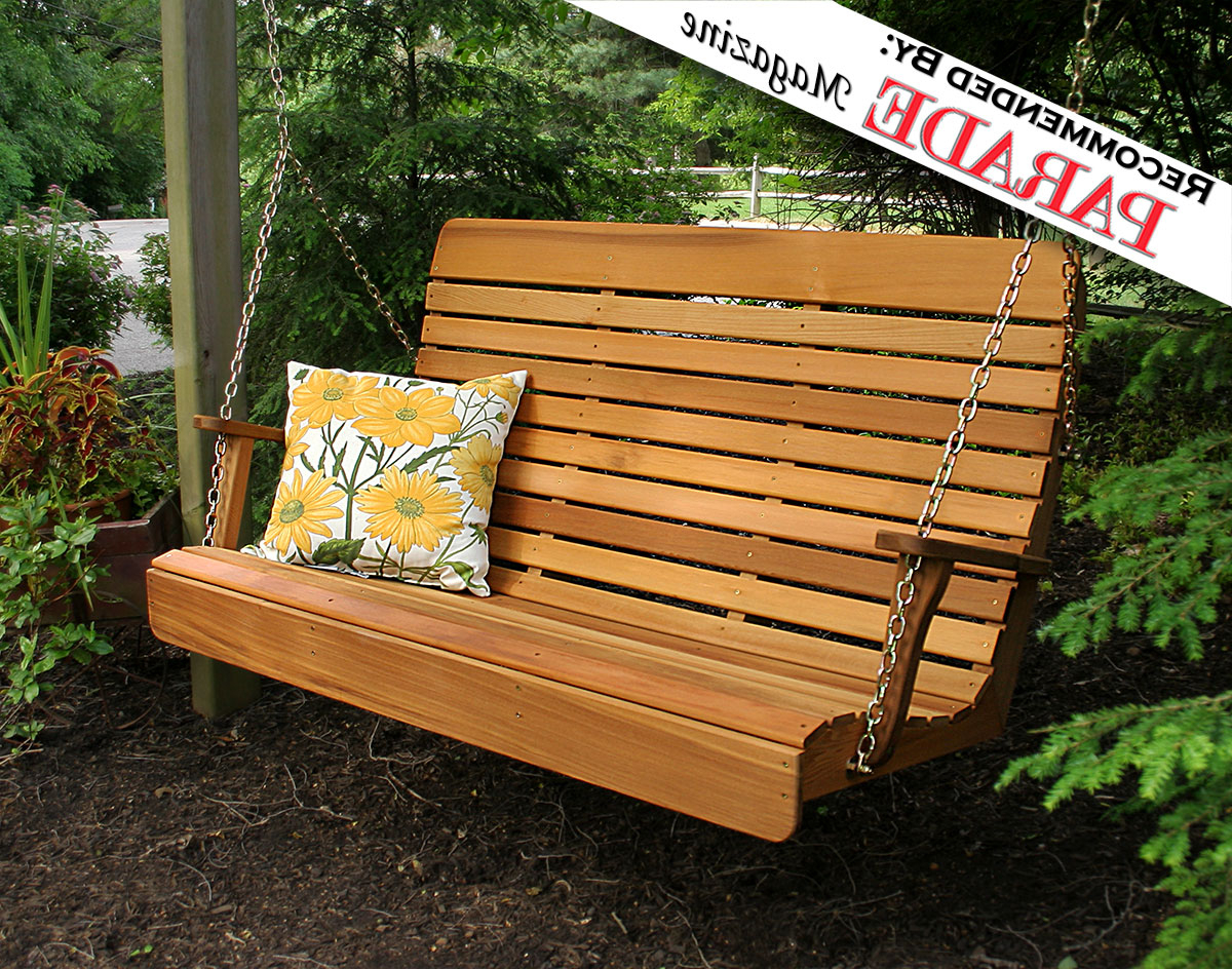 Most Current Red Cedar Royal Highback Porch Swing Throughout 3 Person Light Teak Oil Wood Outdoor Swings (Gallery 24 of 30)