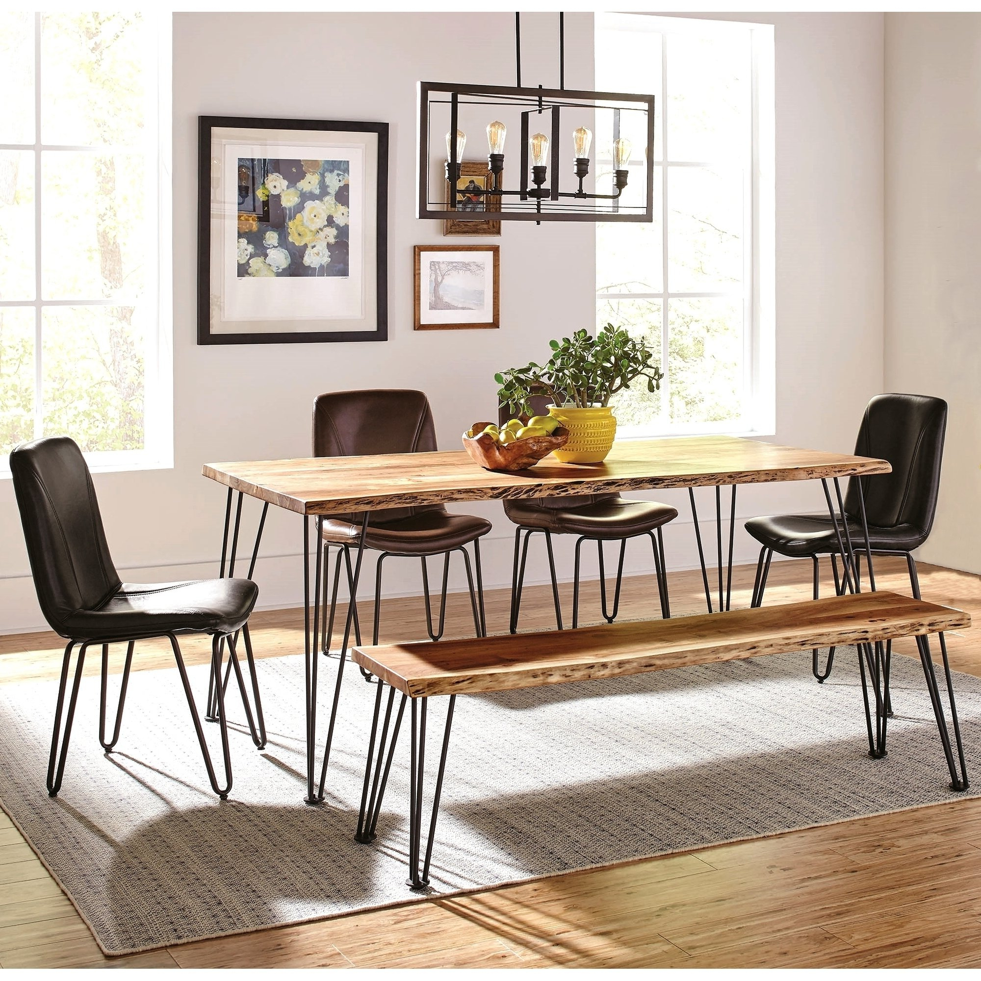 Most Current Rustic Mid Century Modern 6 Seating Dining Tables In White And Natural Wood For Natural Acacia Solid Wood Live Edge With Metal Legs Dining (View 12 of 30)