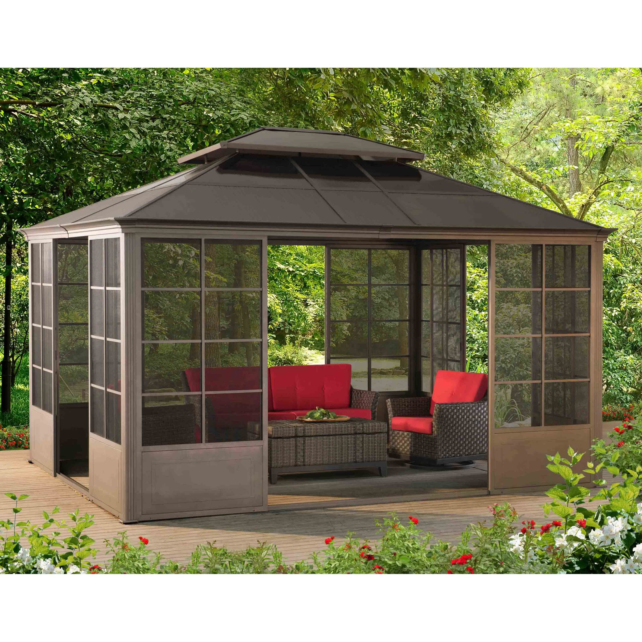 Most Current Sunjoy 14 X 9 Ft. Conner Screen House Gazebo – 110107003 Intended For A4 Ft Cedar Pergola Swings (Gallery 16 of 30)
