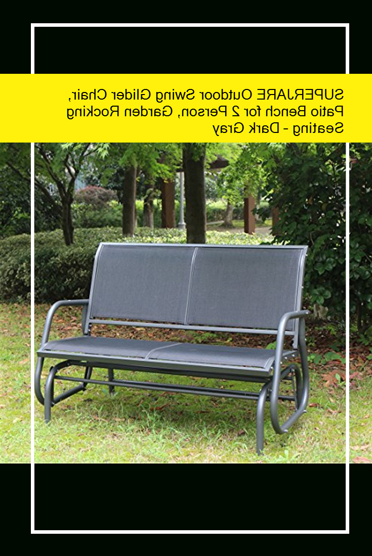 Most Current Superjare Outdoor Swing Glider Chair, Patio Bench For 2 Regarding 2 Person Gray Steel Outdoor Swings (View 18 of 30)