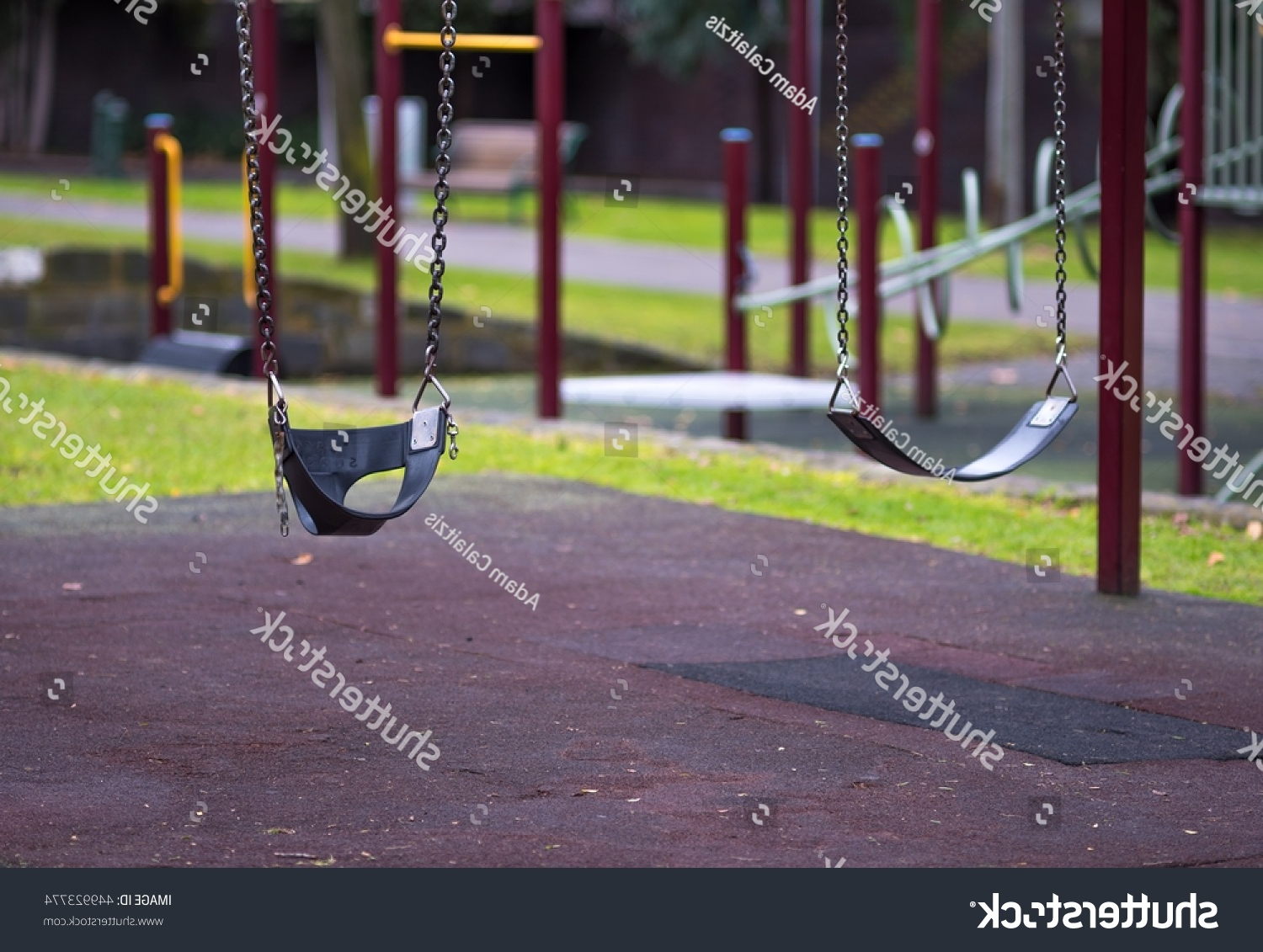 Most Current Swing Seats With Chains With Regard To Two Childrens Playground Swing Seats Hanging Stock Photo (View 11 of 30)