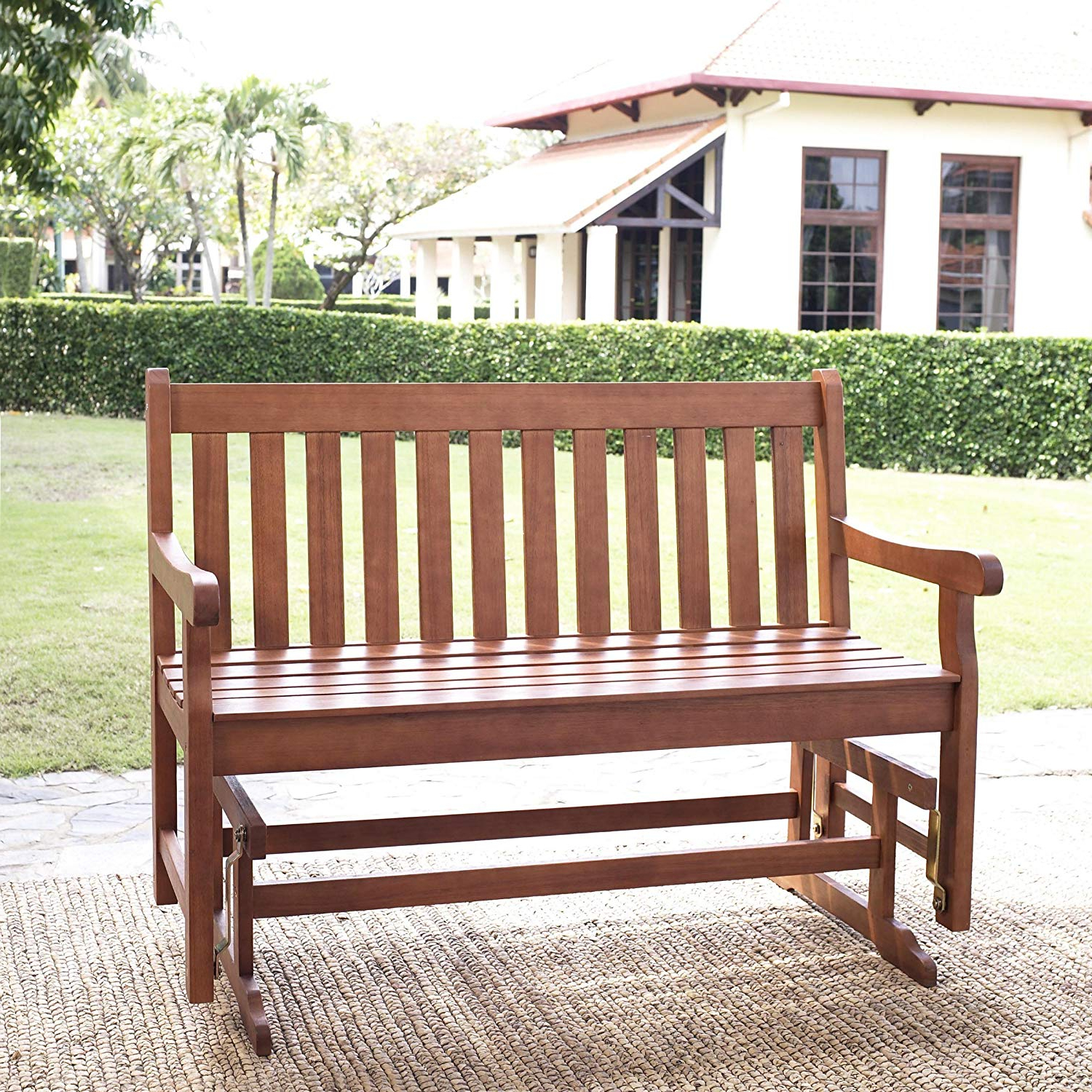 Most Current Traditional Glider Benches With Regard To Amherst Straight Back 4 Feet Outdoor Wood Glider Loveseat, Natural (View 14 of 30)