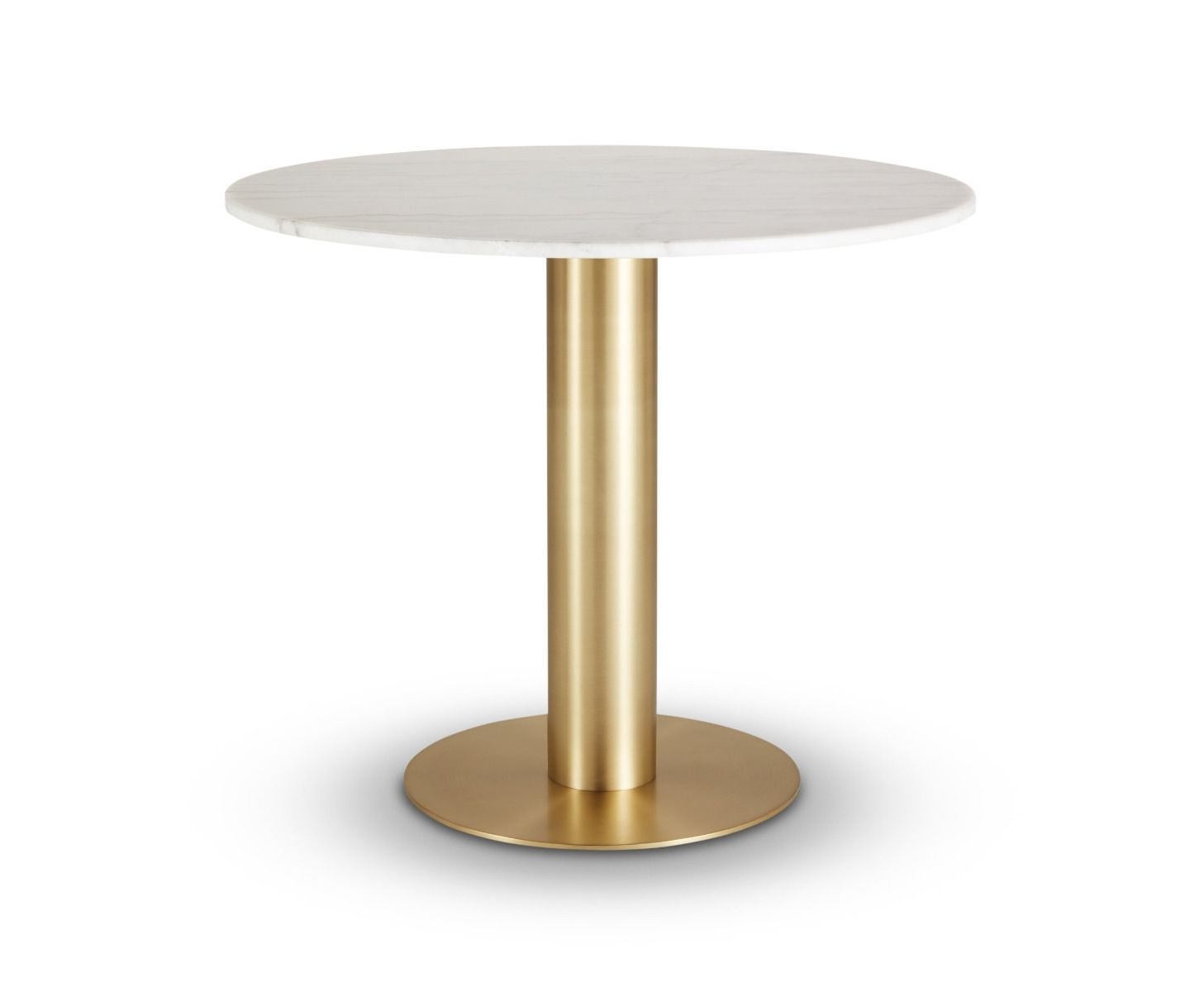 Most Current Tube Dining Table Brass White Marble Top 900mm Within Dining Tables With White Marble Top (Gallery 12 of 30)