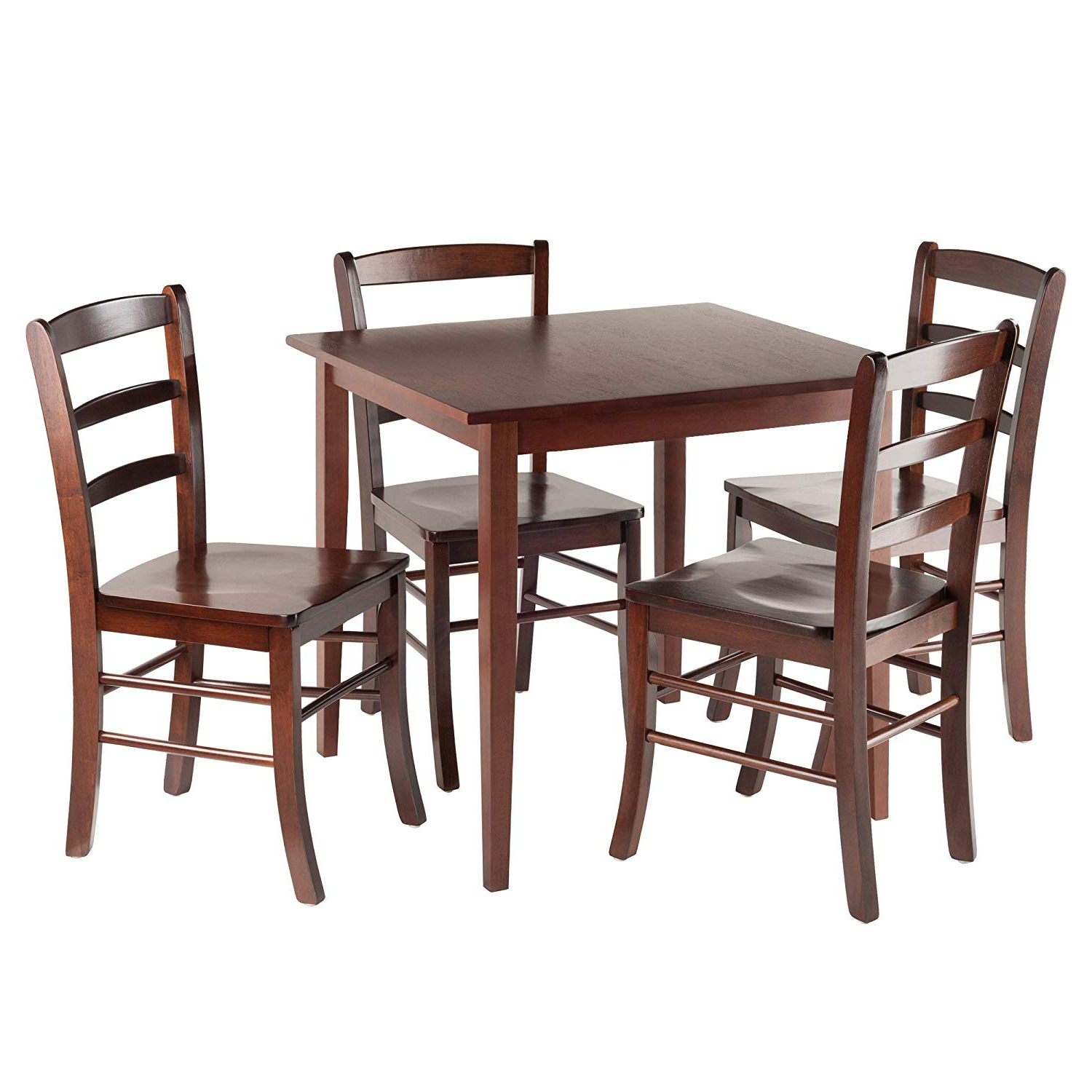 Most Current Walnut And Antique White Finish Contemporary Country Dining Tables For Winsome Groveland Square Dining Table, 4 Chairs, Antique Walnut (Gallery 18 of 30)