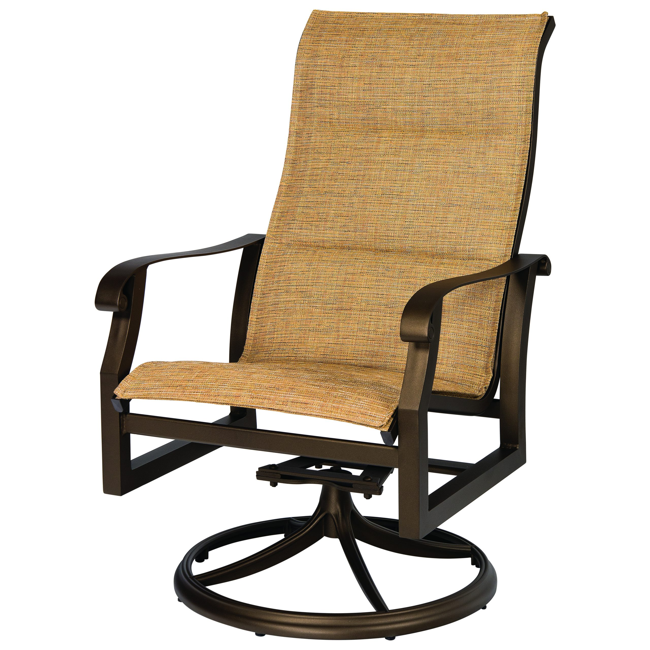 Most Current Woodard Cortland Padded Sling Aluminum High Back Swivel Rocker Within Padded Sling High Back Swivel Chairs (View 4 of 30)