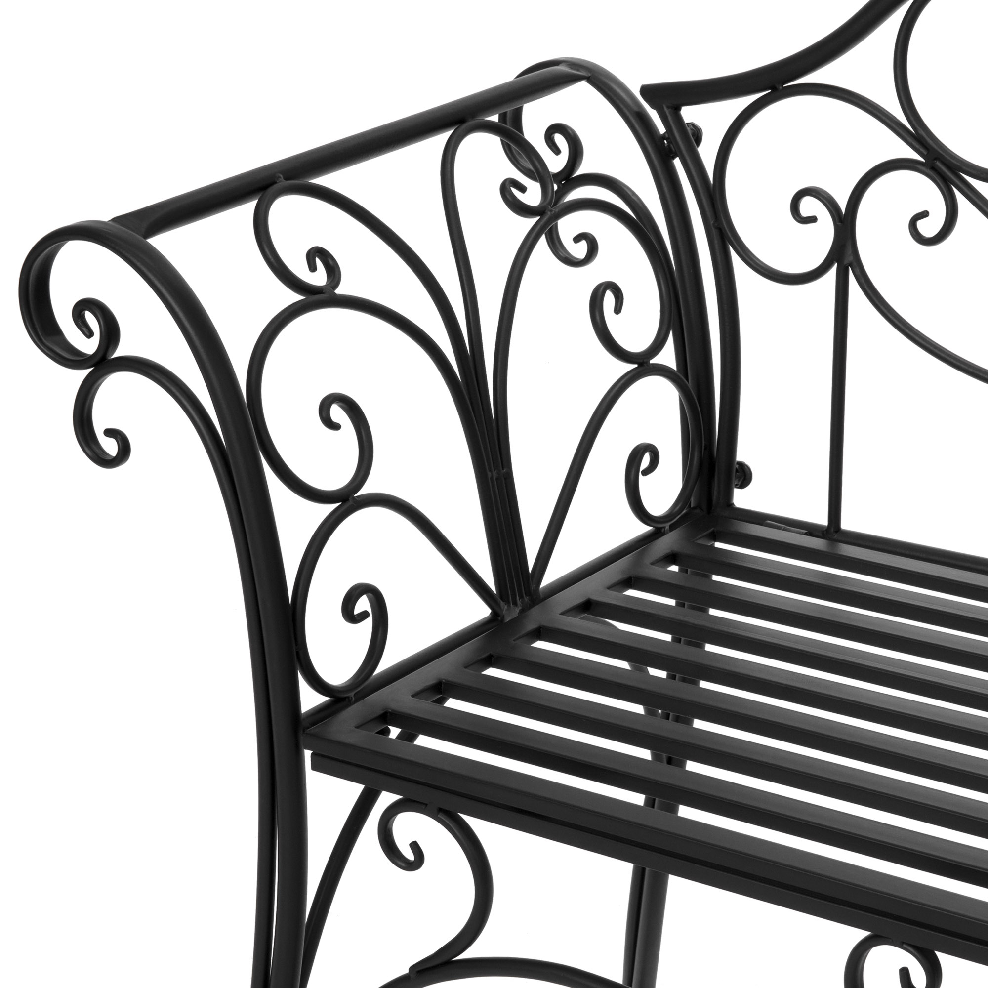 Most Popular 2 Person Black Steel Outdoor Swings With Swing Chair 2 Person Garden Bench 52 Inch Decorative Scroll (Gallery 20 of 30)
