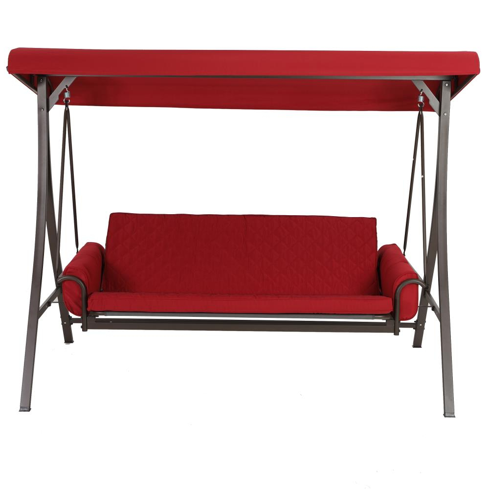 Most Popular 3 Person Red Futon Swing Regarding 3 Person Red With Brown Powder Coated Frame Steel Outdoor Swings (View 14 of 30)
