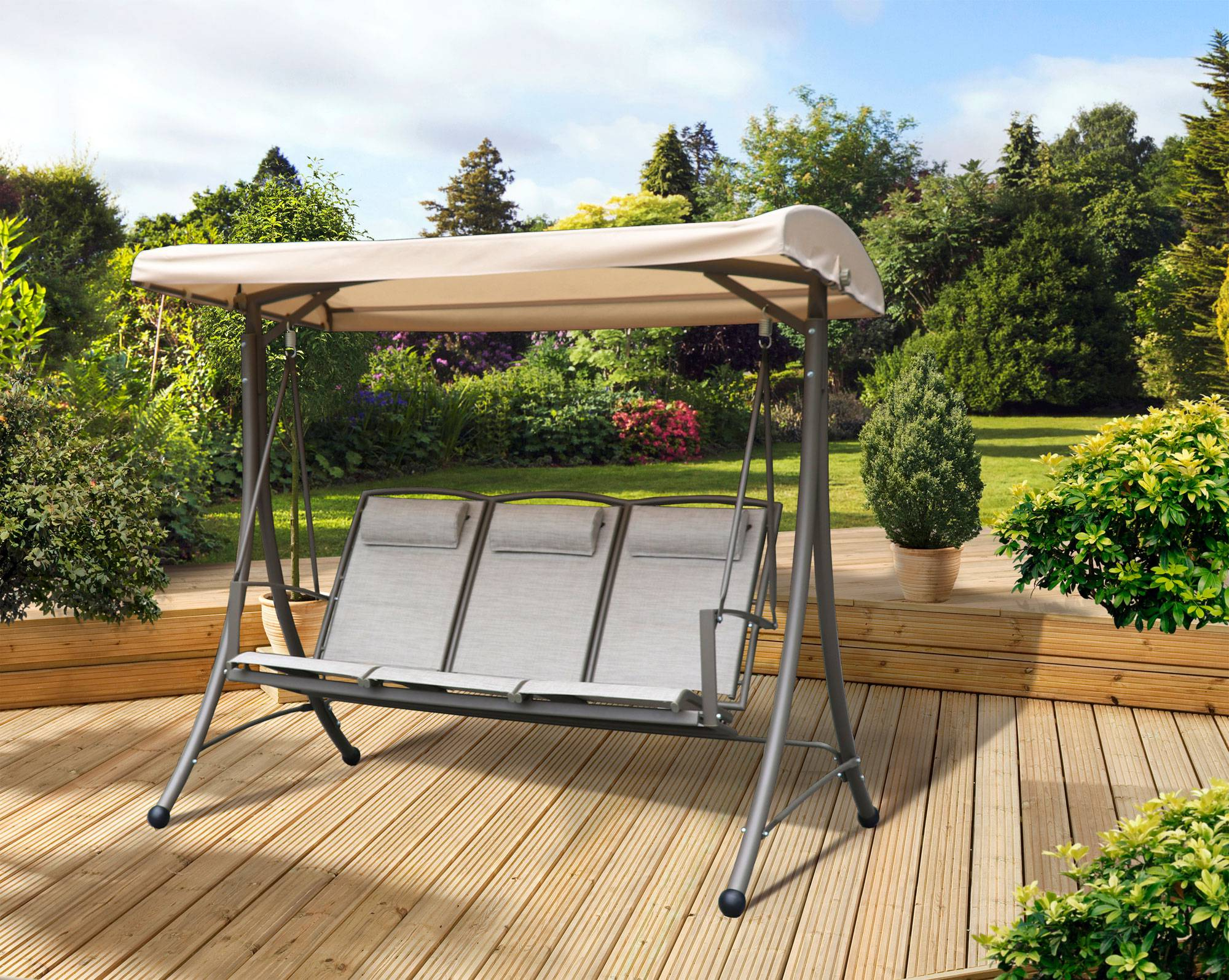 Most Popular 3 Seat Pergola Swings With Boston 3 Seater Swing Seat (Gallery 18 of 30)