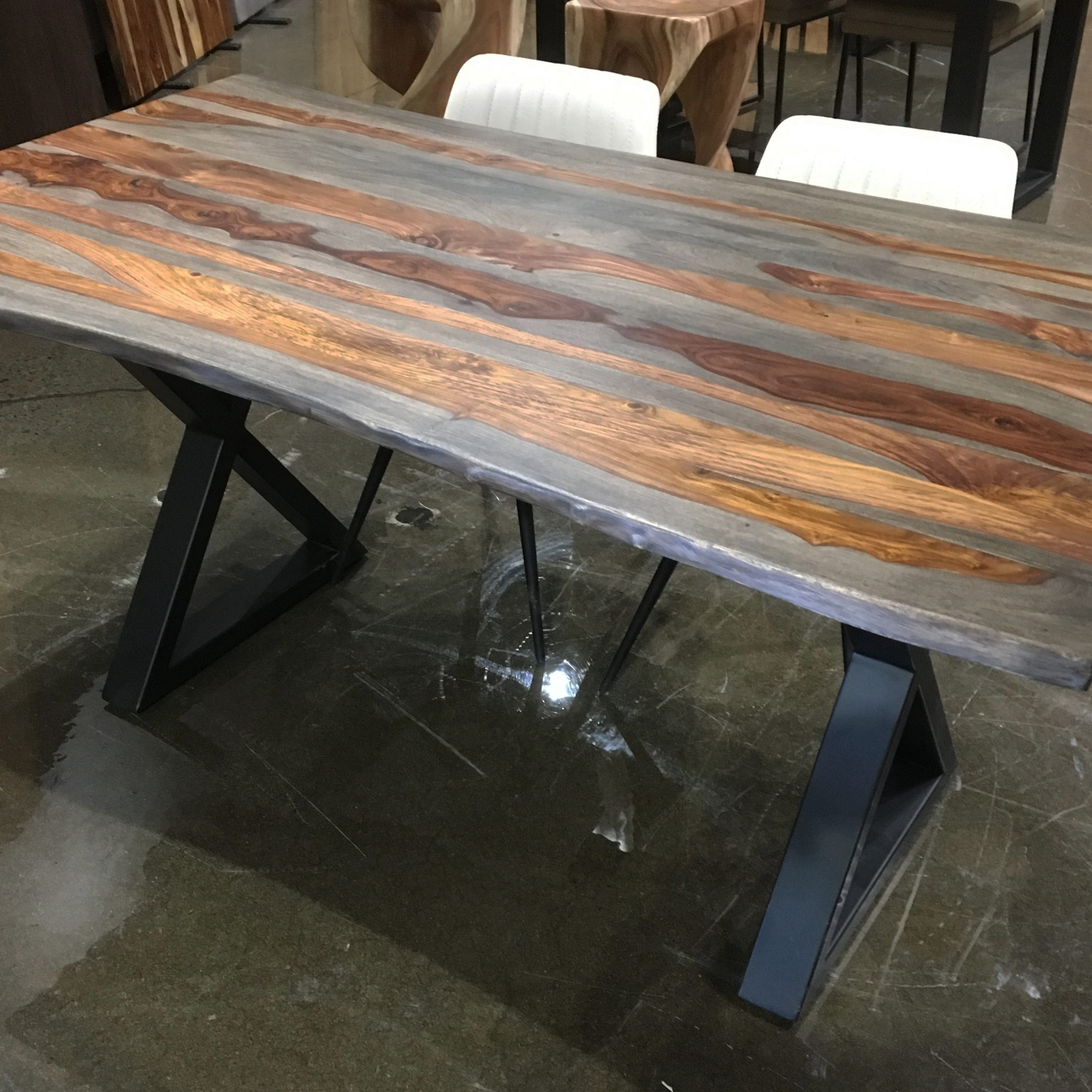 "Most Popular Acacia Dining Tables With Black Rocket Legs Pertaining To Corcoran Acacia Live Edge Dining Table With Black Rocket Legs – 96"" (Gallery 20 of 30)"