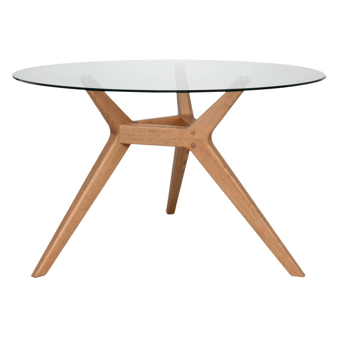 Most Popular Arco 130cm Diameter Round Dining Table, Natural & Glass With Round Dining Tables With Glass Top (View 27 of 30)