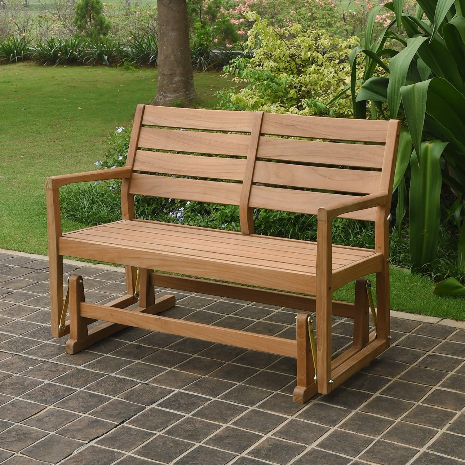 Most Popular Cambridge Casual Andrea Teak Glider Bench Pertaining To Teak Glider Benches (View 7 of 30)