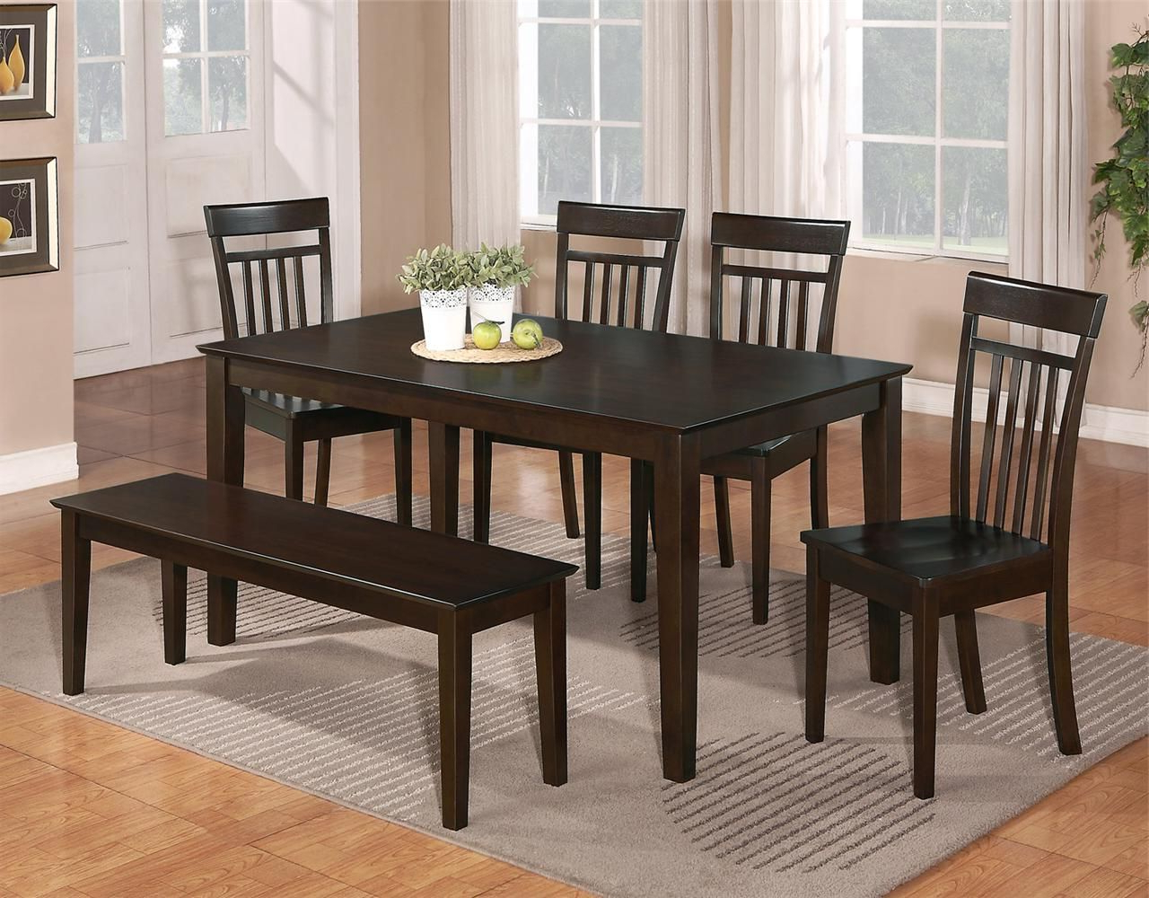 Most Popular Cappuccino Finish Wood Classic Casual Dining Tables Intended For Details About The Room Style 7Pc Cappuccino Dining Room (View 19 of 30)