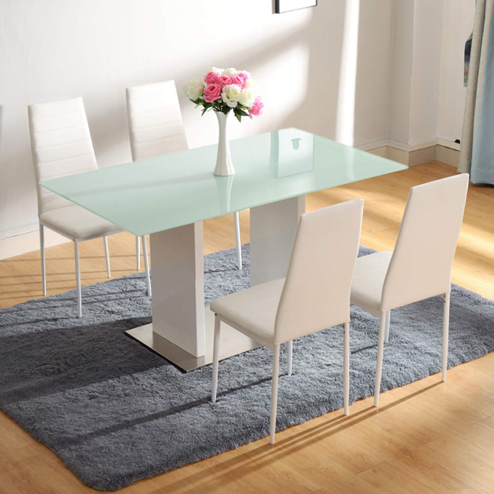 Most Popular Chrome Dining Tables With Tempered Glass Regarding Inmozata Modern Dining Table High Gloss Chrome Tempered (Gallery 29 of 30)