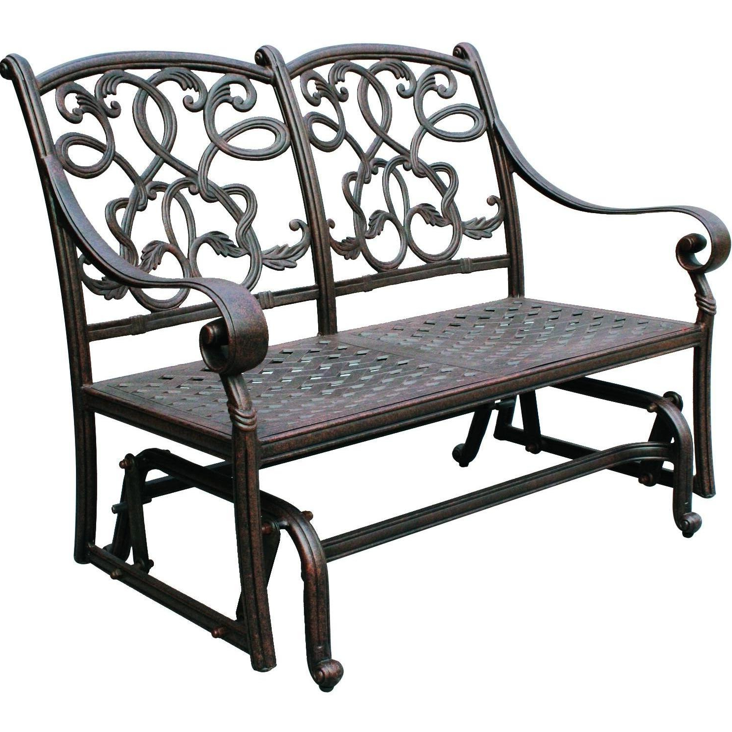 Most Popular Darlee Santa Monica Cast Aluminum Patio Loveseat Glider Inside 2 Person Antique Black Iron Outdoor Gliders (View 6 of 30)