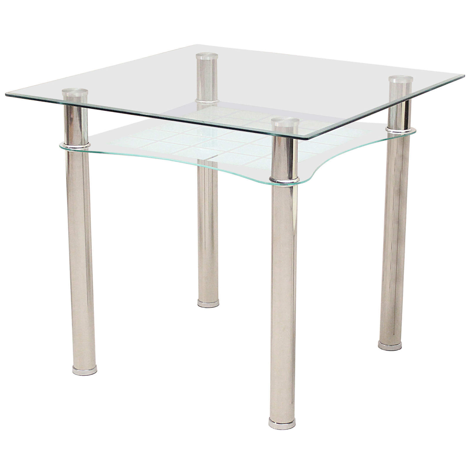 Most Popular Details About Kitchen Dining Table Clear Glass Square Top Under Shelf Chrome Small 85cm X 85cm Pertaining To Eames Style Dining Tables With Chromed Leg And Tempered Glass Top (Gallery 30 of 30)