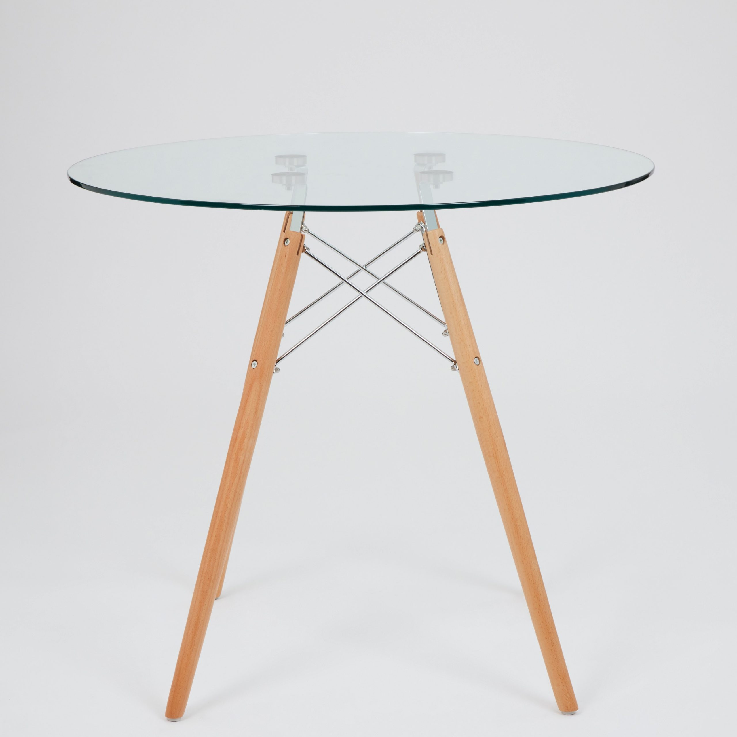 Most Popular Dining Glass Table With Beechwood Legs (Size: 80Cm Inside Eames Style Dining Tables With Chromed Leg And Tempered Glass Top (View 16 of 30)