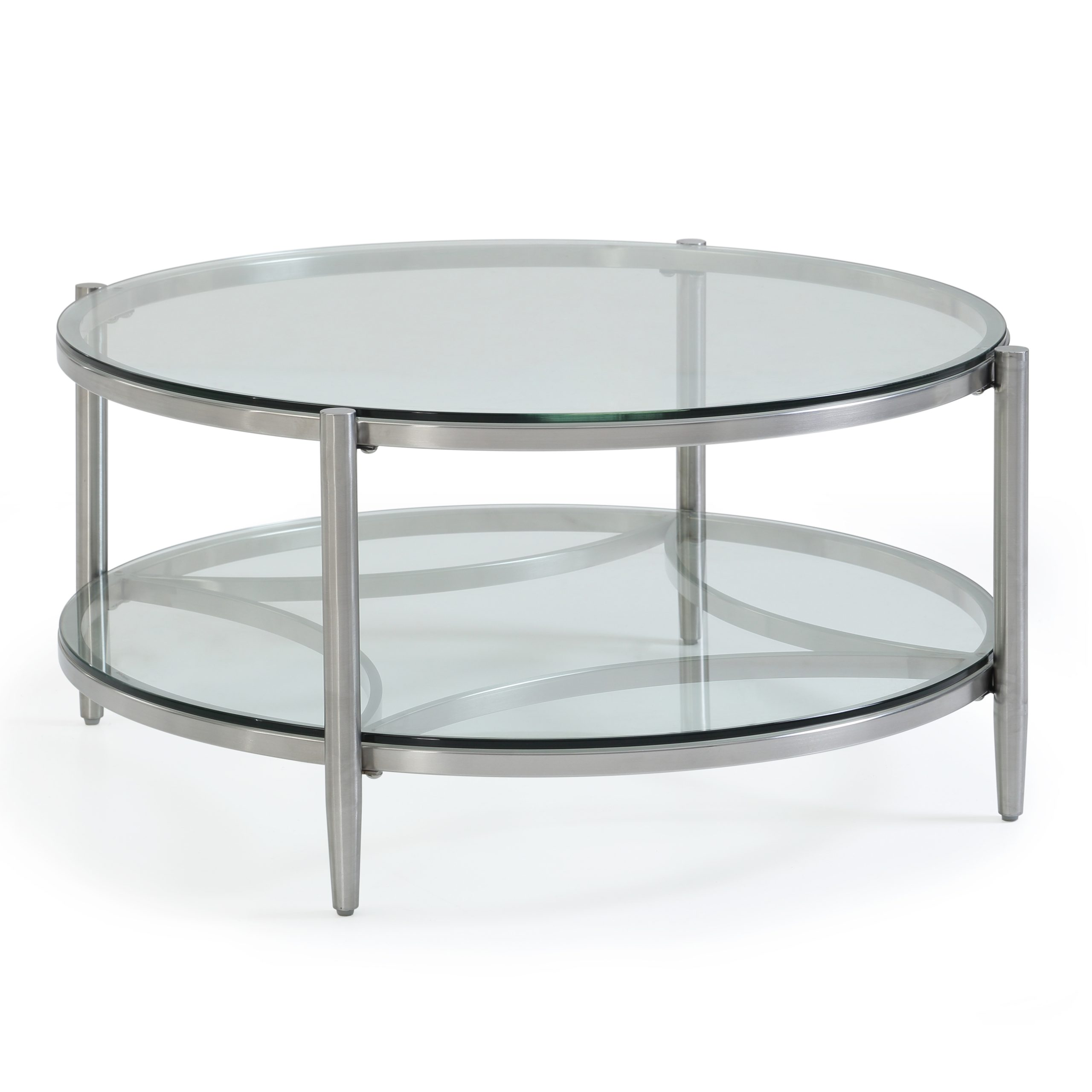 Most Popular Dining Tables With Brushed Stainless Steel Frame Within Stanmore Collection – Circular Coffee Table – Brushed Stainless Steel  Frame/clear Glass Top & Shelf (Gallery 21 of 30)