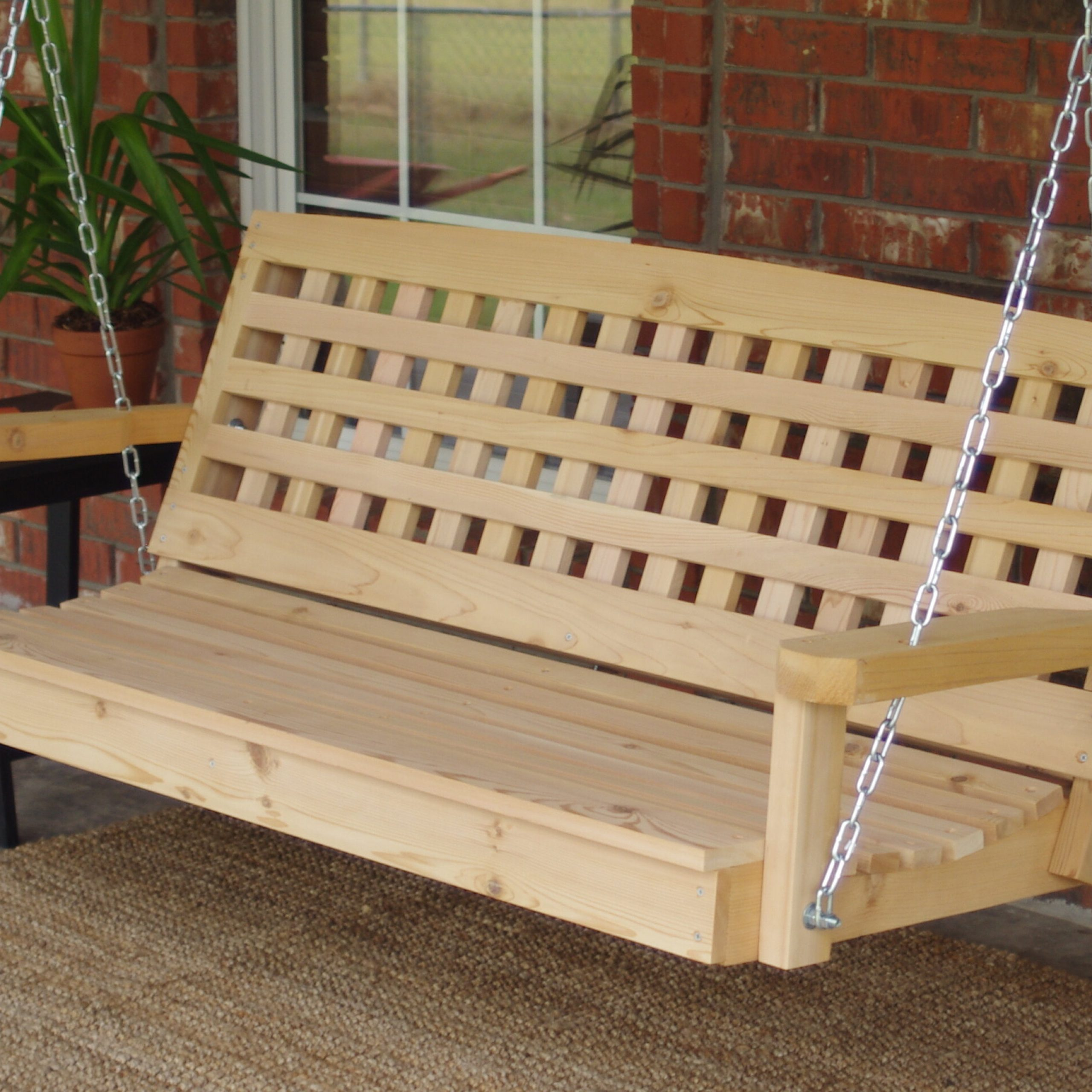 Most Popular Hinderliter Lattice Back Cedar Porch Swing Pertaining To Contoured Classic Porch Swings (Gallery 20 of 30)
