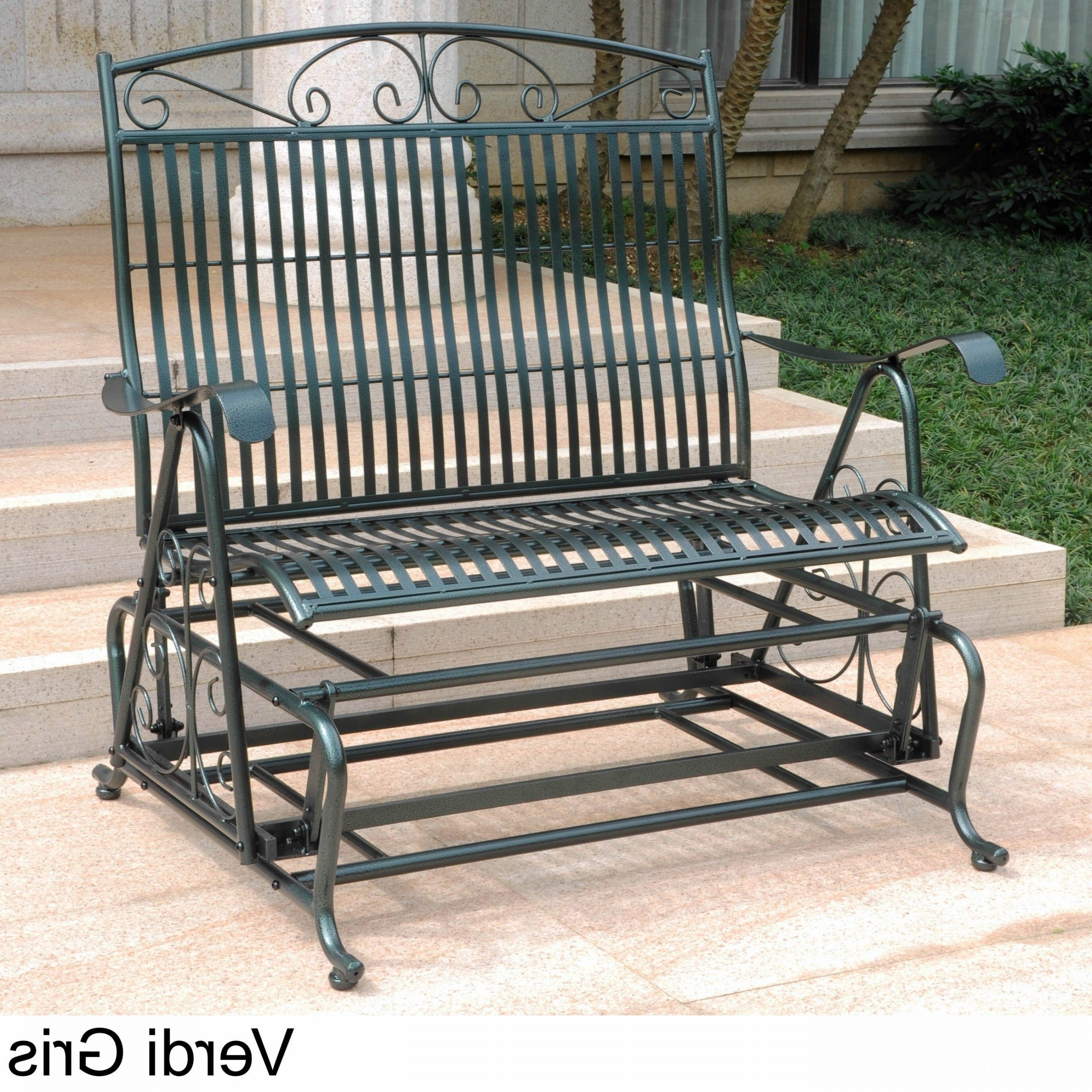 Most Popular Iron Grove Slatted Glider Benches Intended For International Caravan Mandalay Iron Double Glider Bench Seat (Gallery 9 of 30)