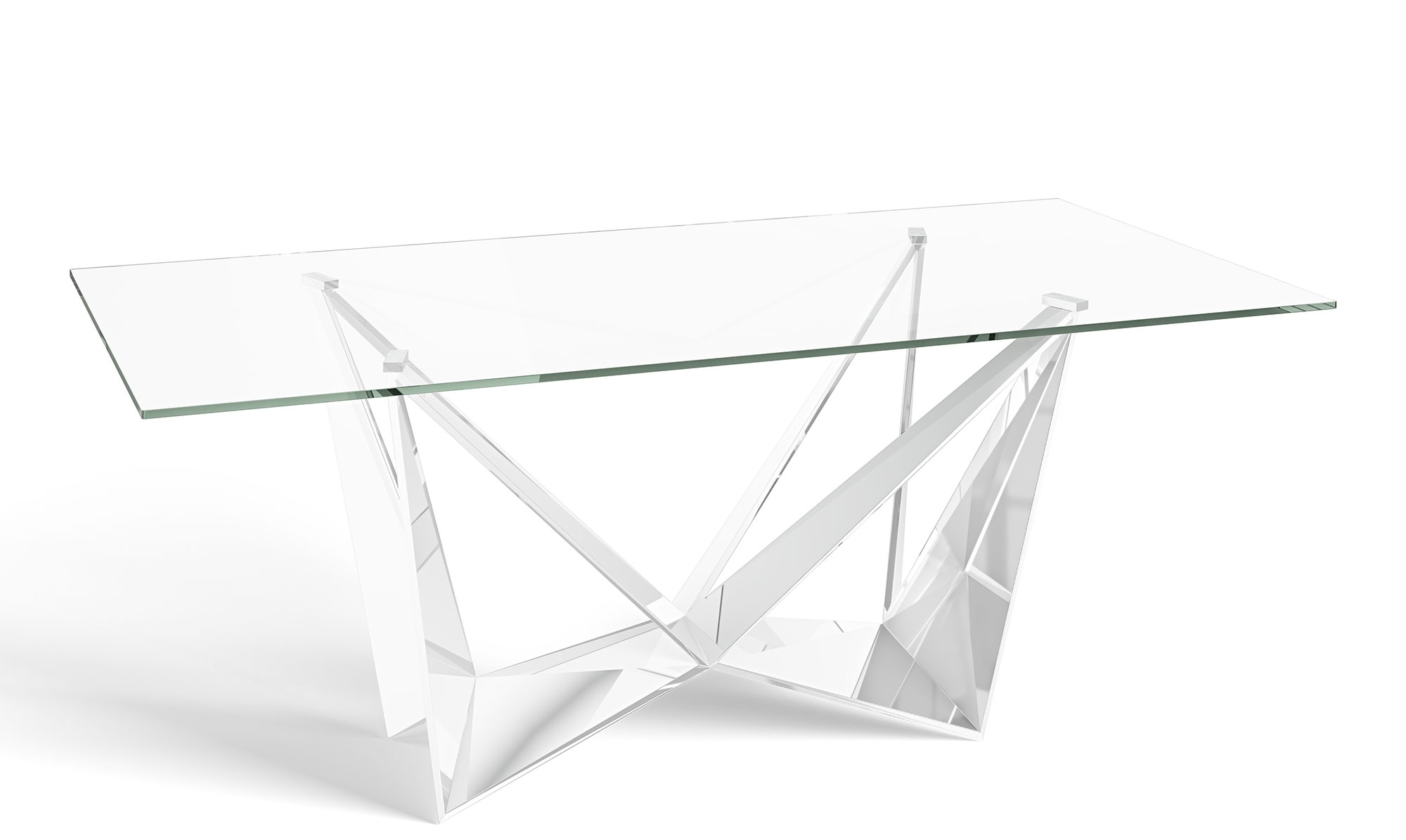 Most Popular Long Dining Tables With Polished Black Stainless Steel Base Pertaining To Glacier – 200cm Dining Table Glass Top Polished Stainless Steel Base (Gallery 30 of 30)