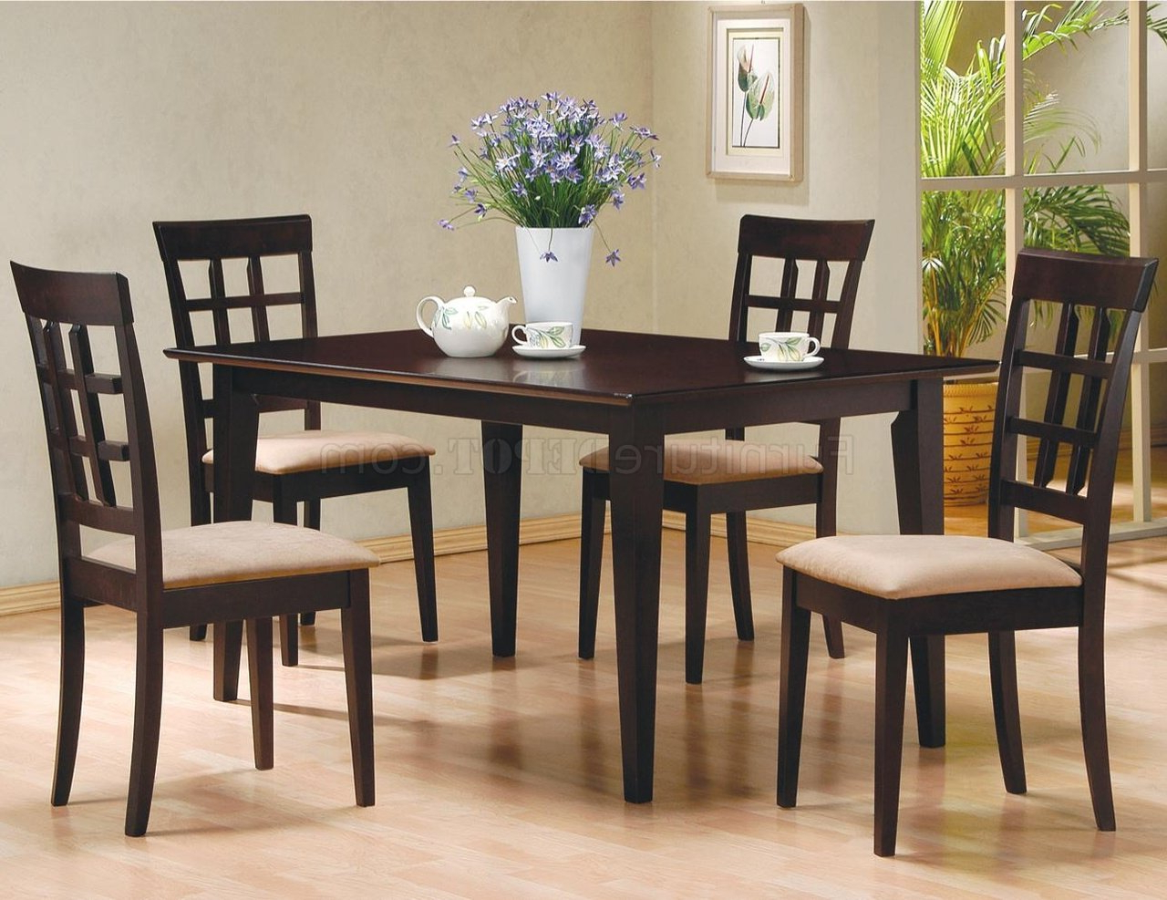 Most Popular Medium Elegant Dining Tables Throughout Cappuccino Finish Elegant Dinette With Soft Microfiber Seats (View 20 of 30)