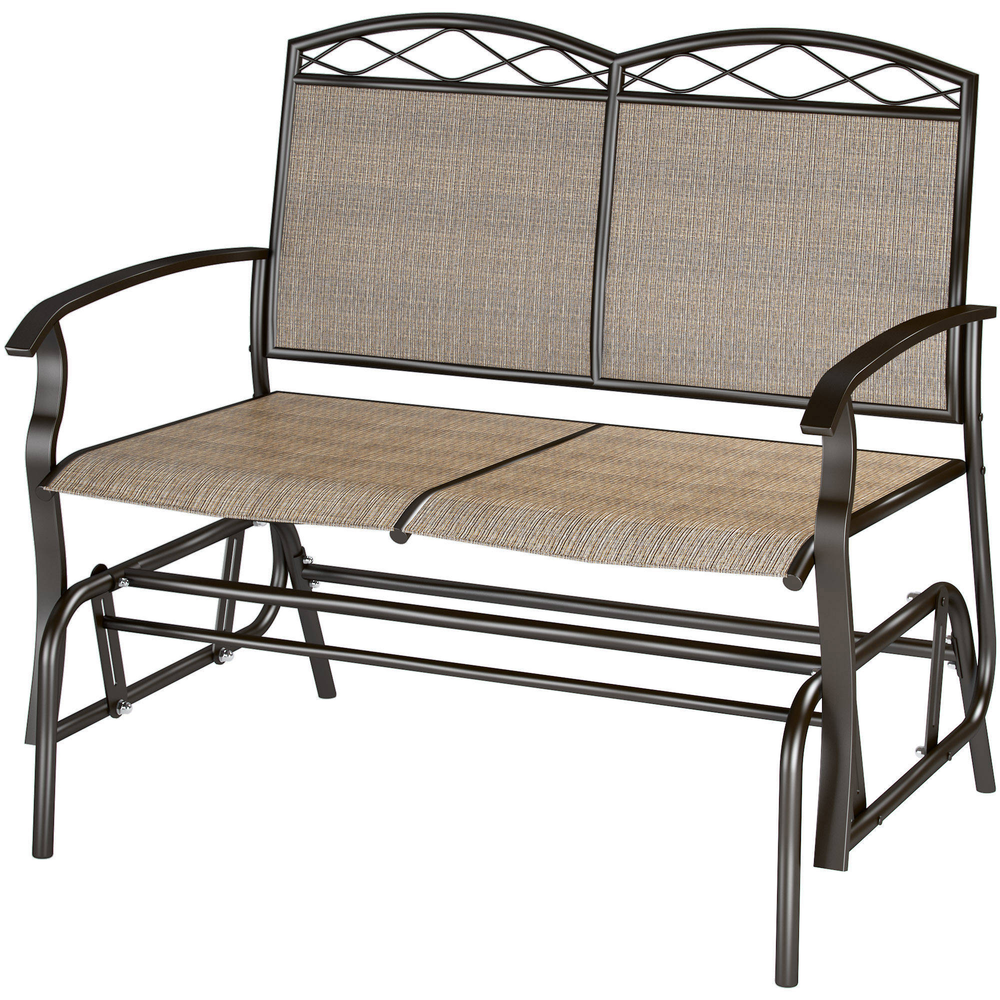 Most Popular Metal Powder Coat Double Seat Glider Benches With Regard To Corliving Speckled Brown Patio Double Glider – Walmart (View 24 of 30)