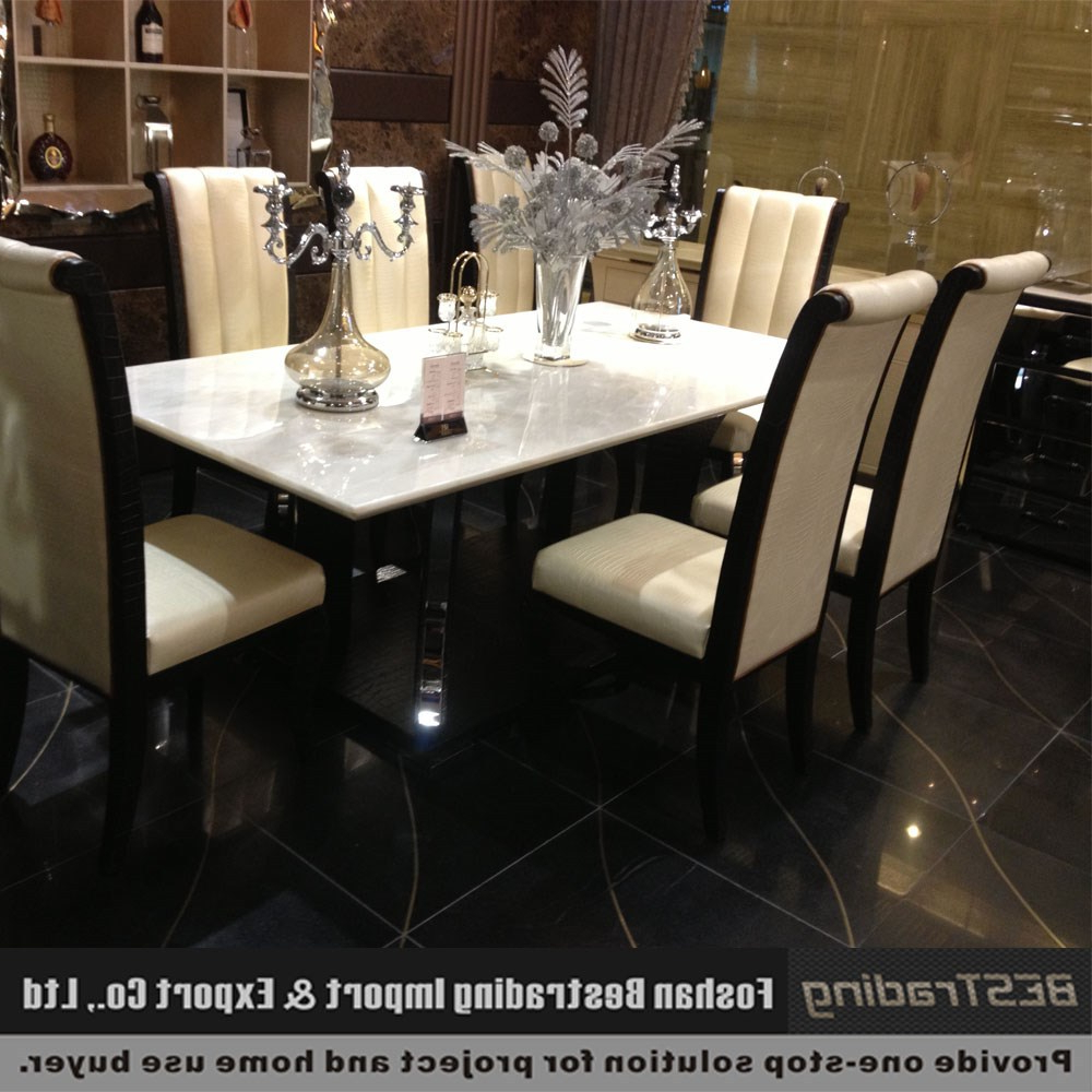 Most Popular Modern Nature White Marble Top Stainless Steel Dining Table 2.2m – Buy Stainless Steel Dining Table Designs Product On Alibaba With Dining Tables With White Marble Top (Gallery 4 of 30)