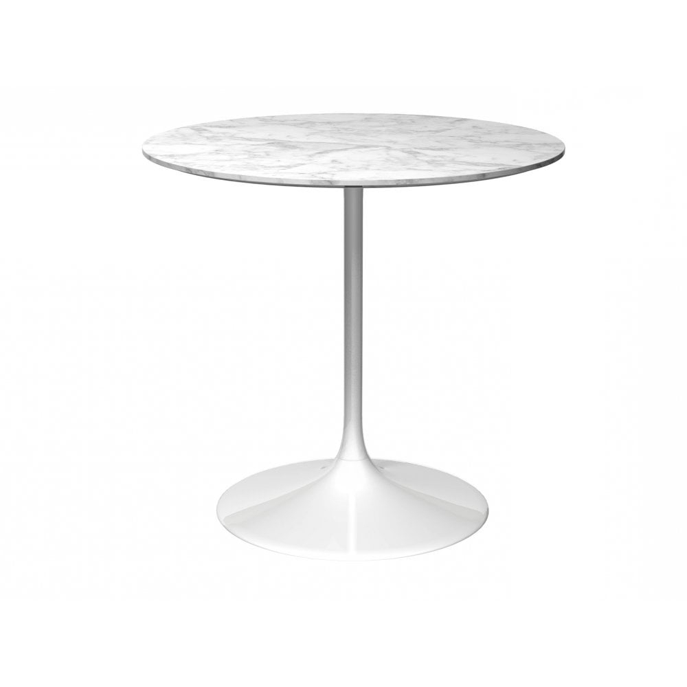 Most Popular Pedestal Medium Dining Table White Marble And White Intended For Medium Dining Tables (View 9 of 30)