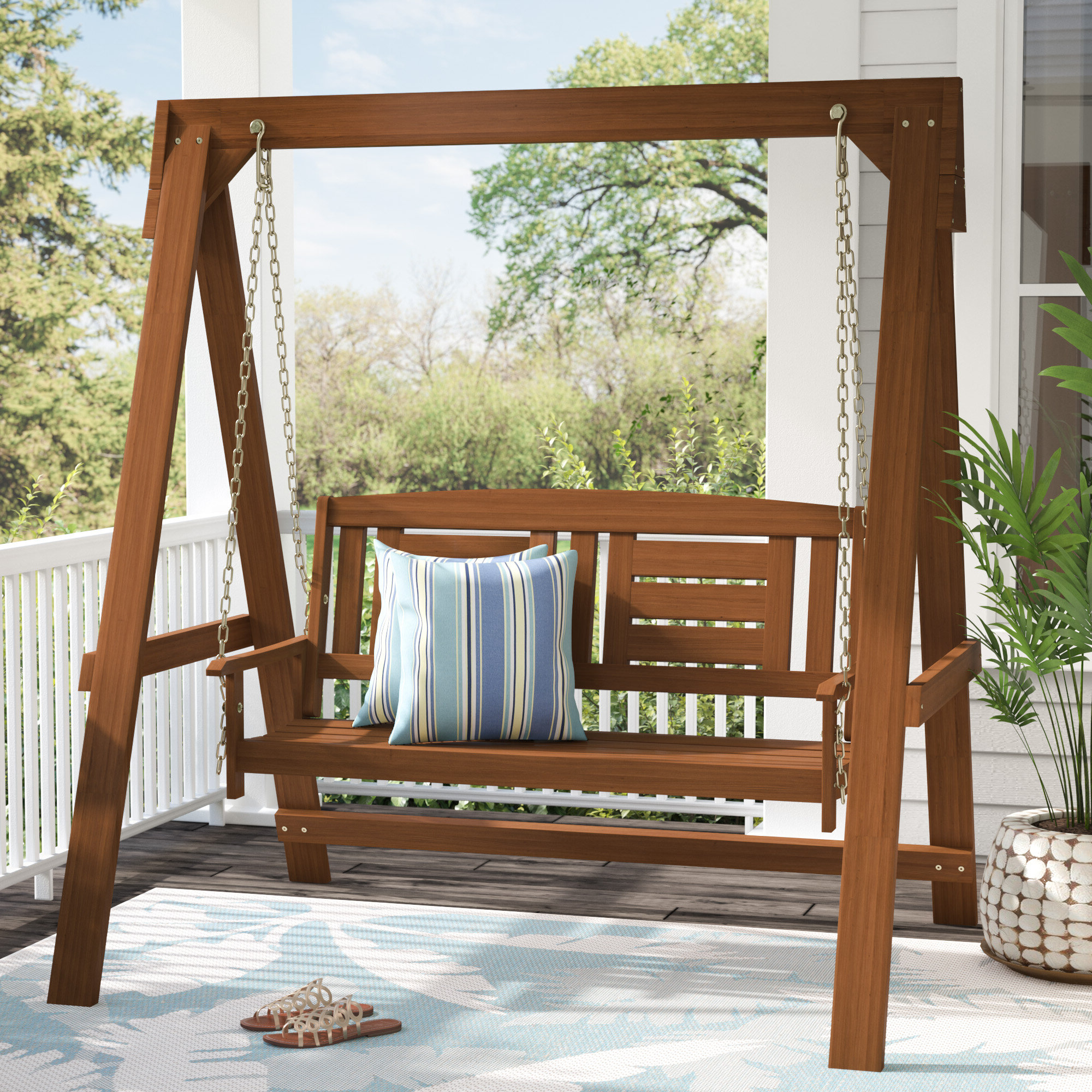 Most Popular Porch Swings With Stand Within Arianna Hardwood Hanging Porch Swing With Stand (View 2 of 30)