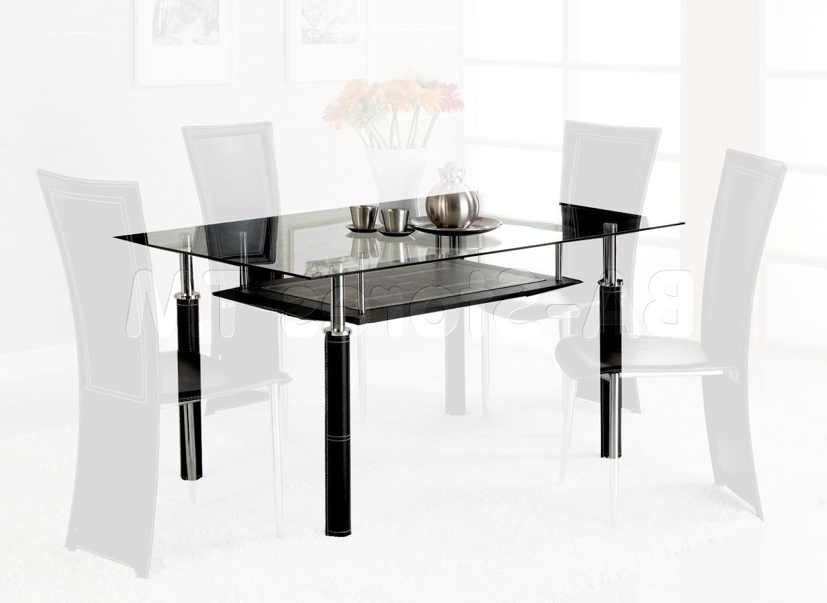 Most Popular Rectangular Glass Top Dining Table With Wood Base On With Hd Throughout Rectangular Glass Top Dining Tables (Gallery 19 of 30)